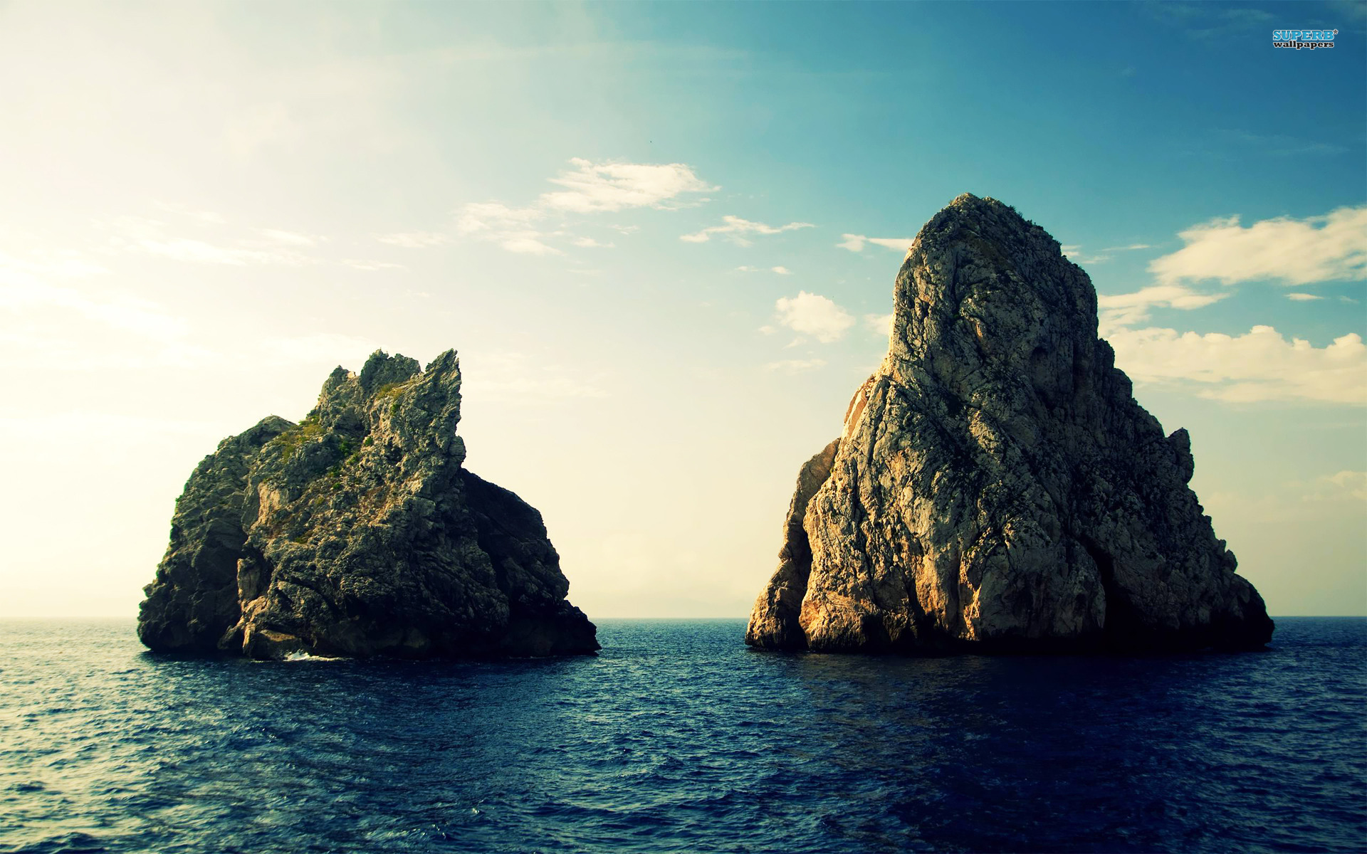 Rock formations in the ocean wallpaper 1920x1200