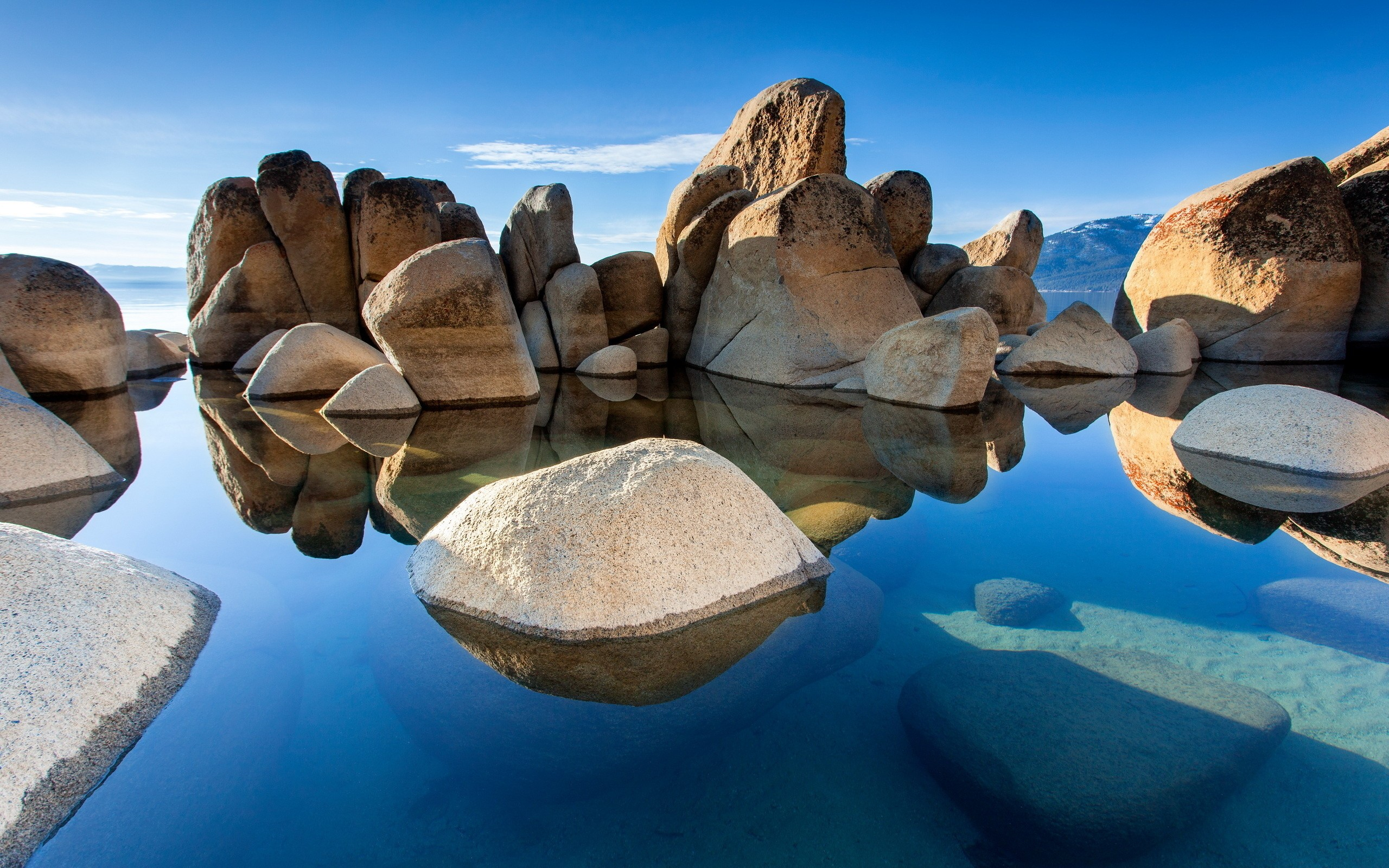 Rocks water sunshine