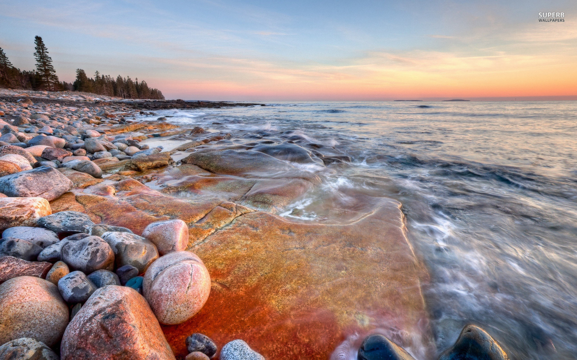 Rocky shore wallpaper 1920x1200