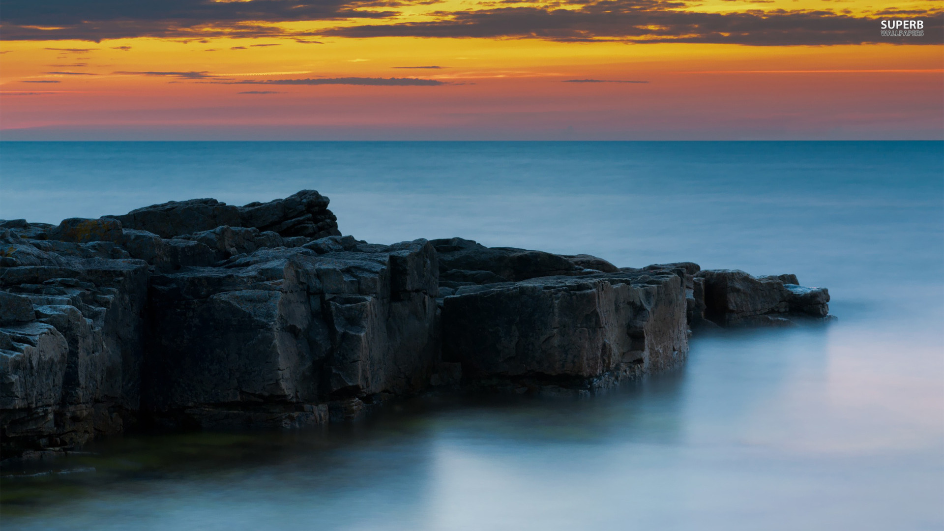 Rocky shore wallpaper 1920x1080
