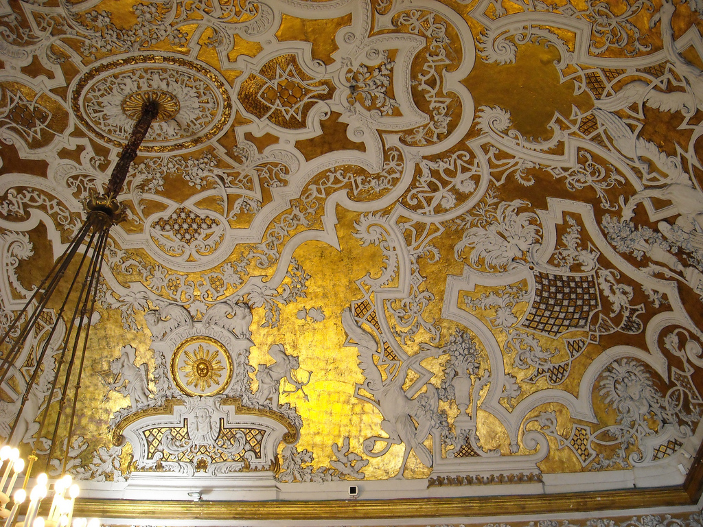 Royal Palace - Naples: ceiling, The Queen's Room. Its ceiling features