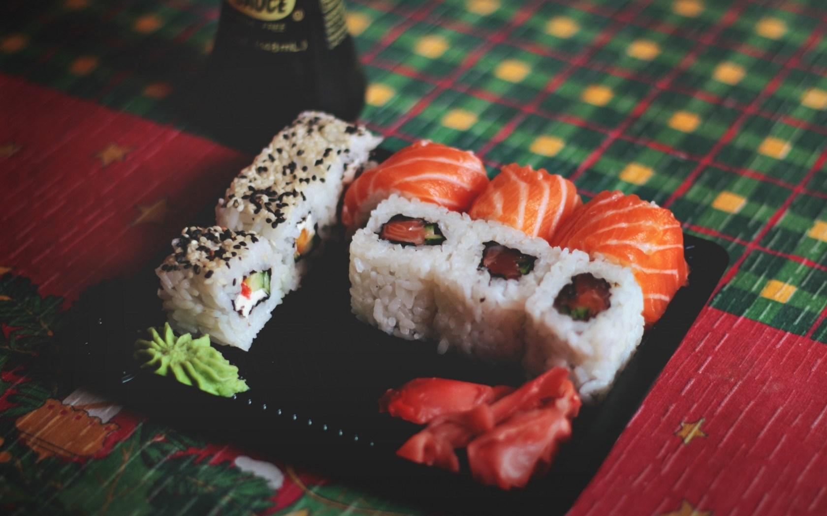 Rolls Wasabi Fish Rice Food