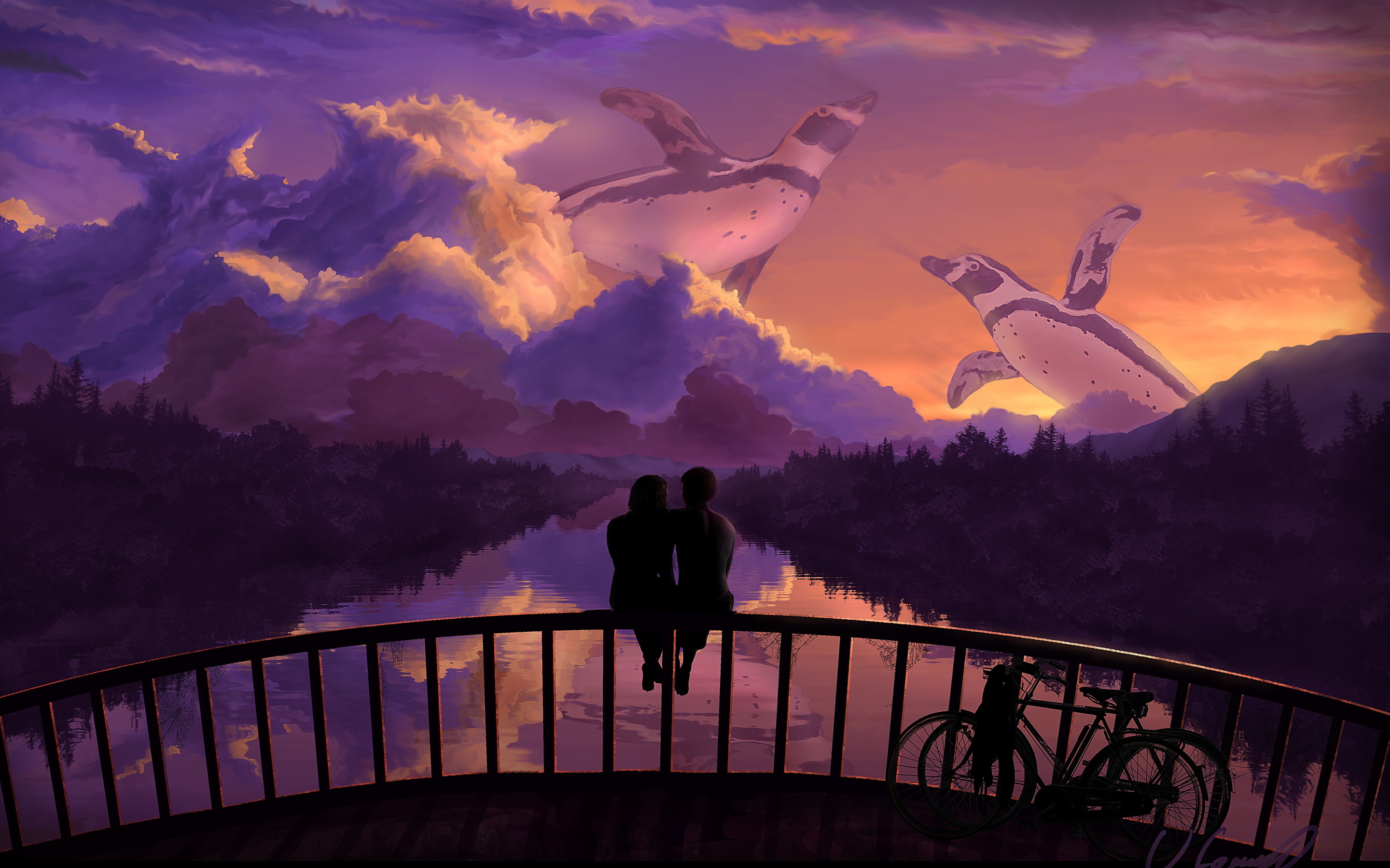 Romantic couple bridge sunset art