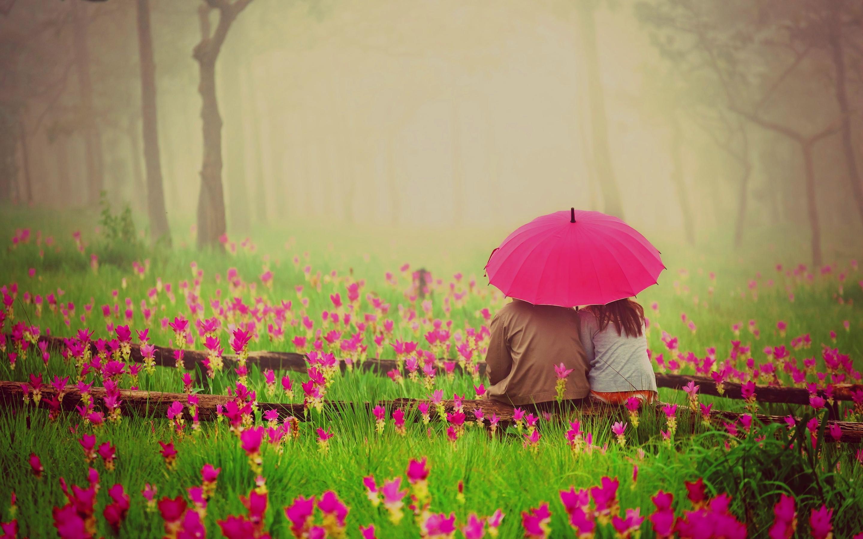 Romantic flowers couple umbrella