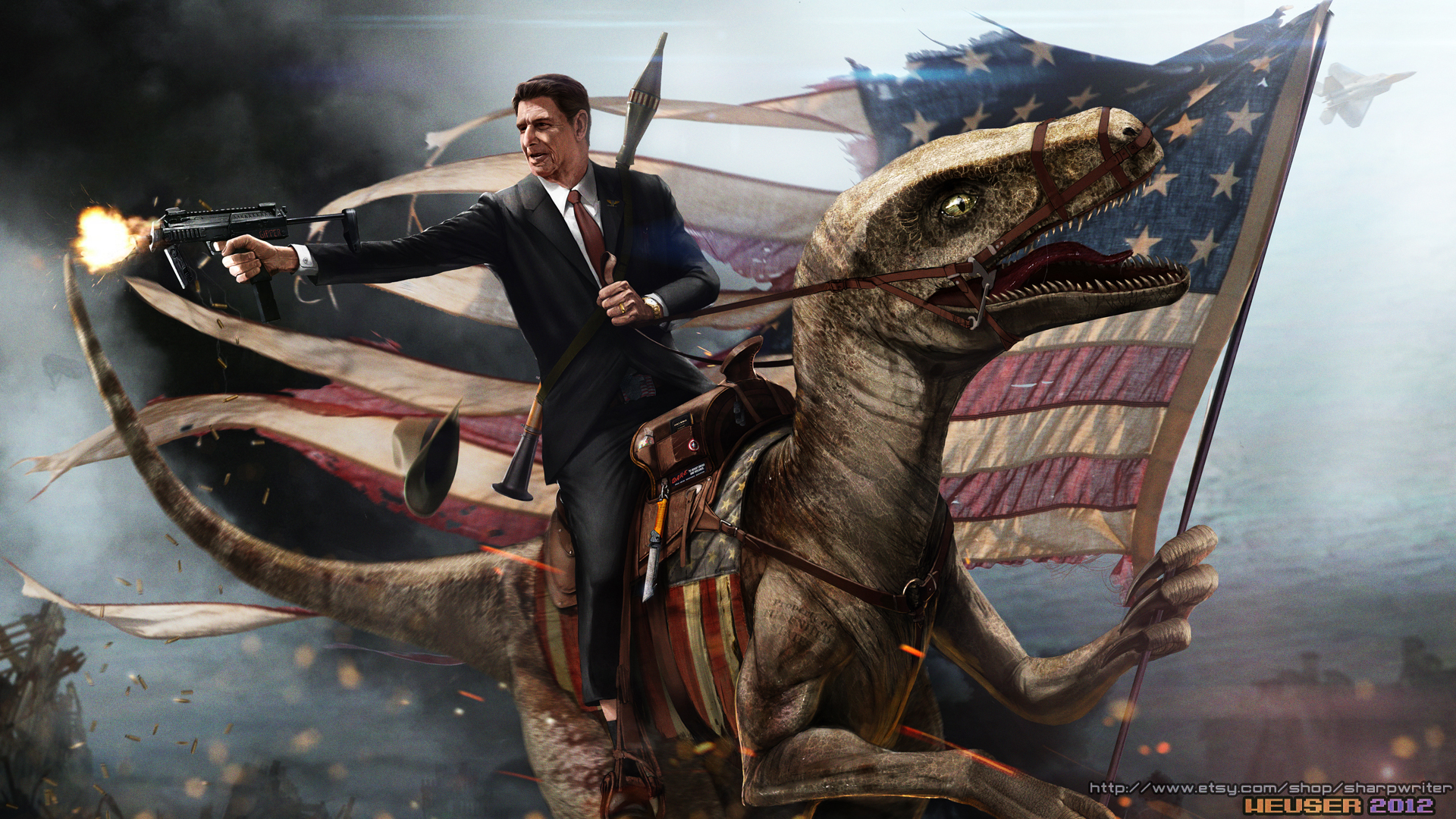 Ronald Reagan Riding a Velociraptor by SharpWriter Ronald Reagan Riding a Velociraptor by SharpWriter