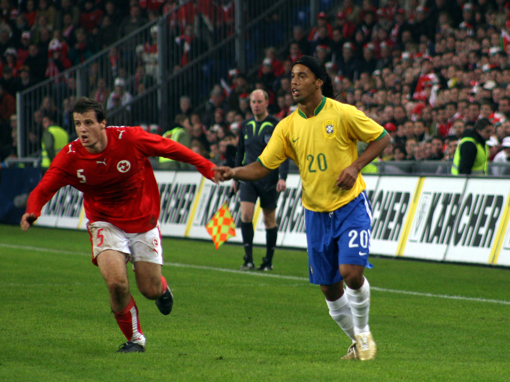 Ronaldinho against Switzerland's Xavier Margairaz