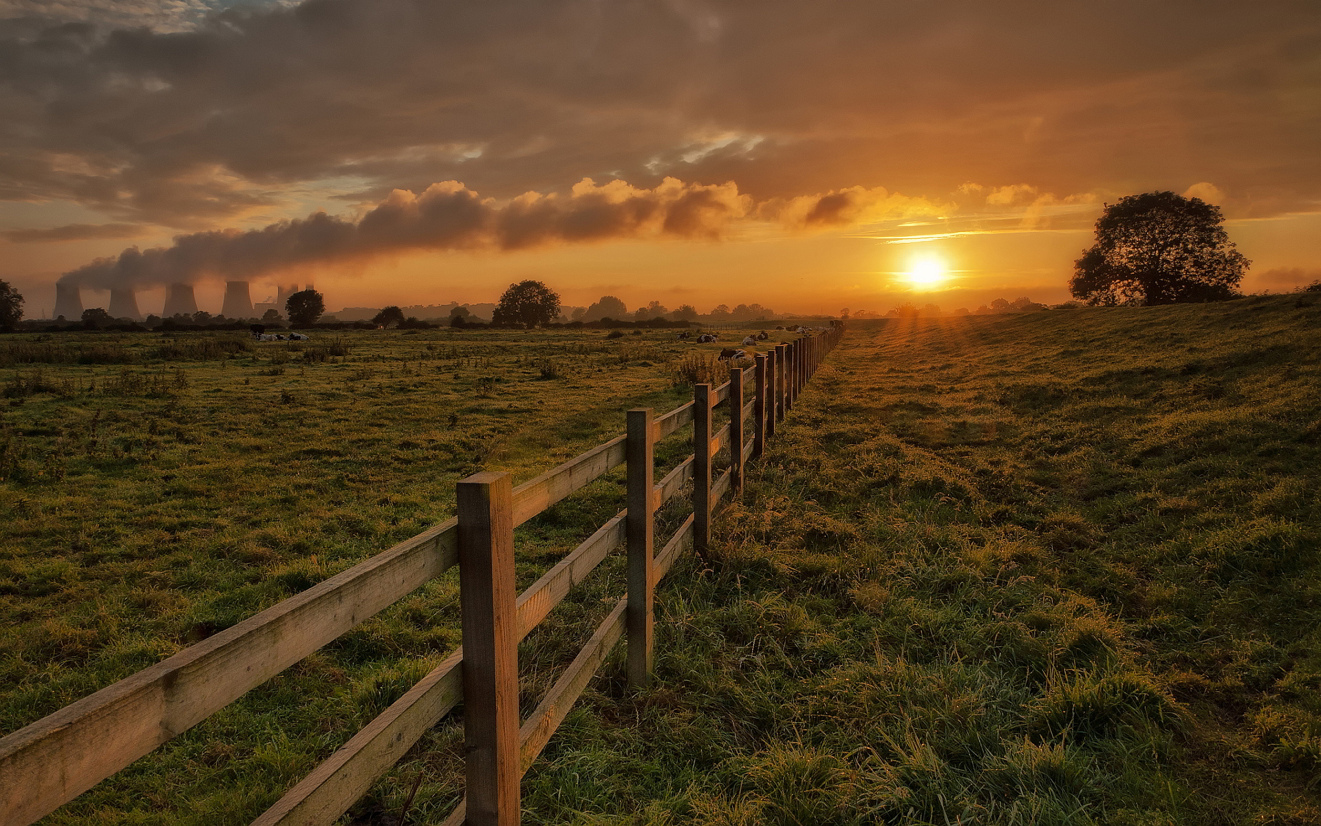 Rural landscape sunset