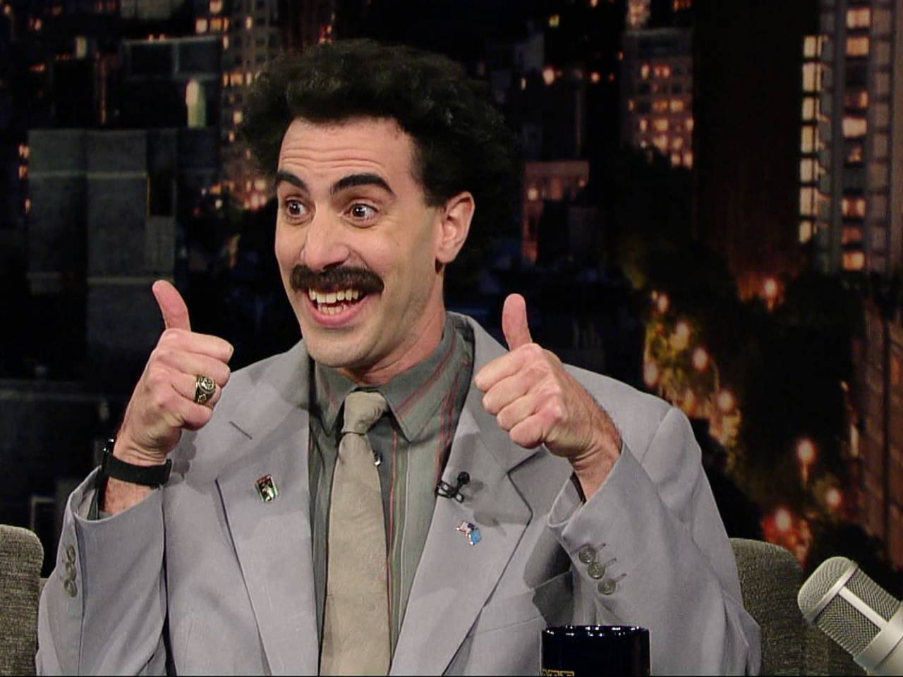 EnlargeSacha Baron Cohen as Borat on the David Letterman Show