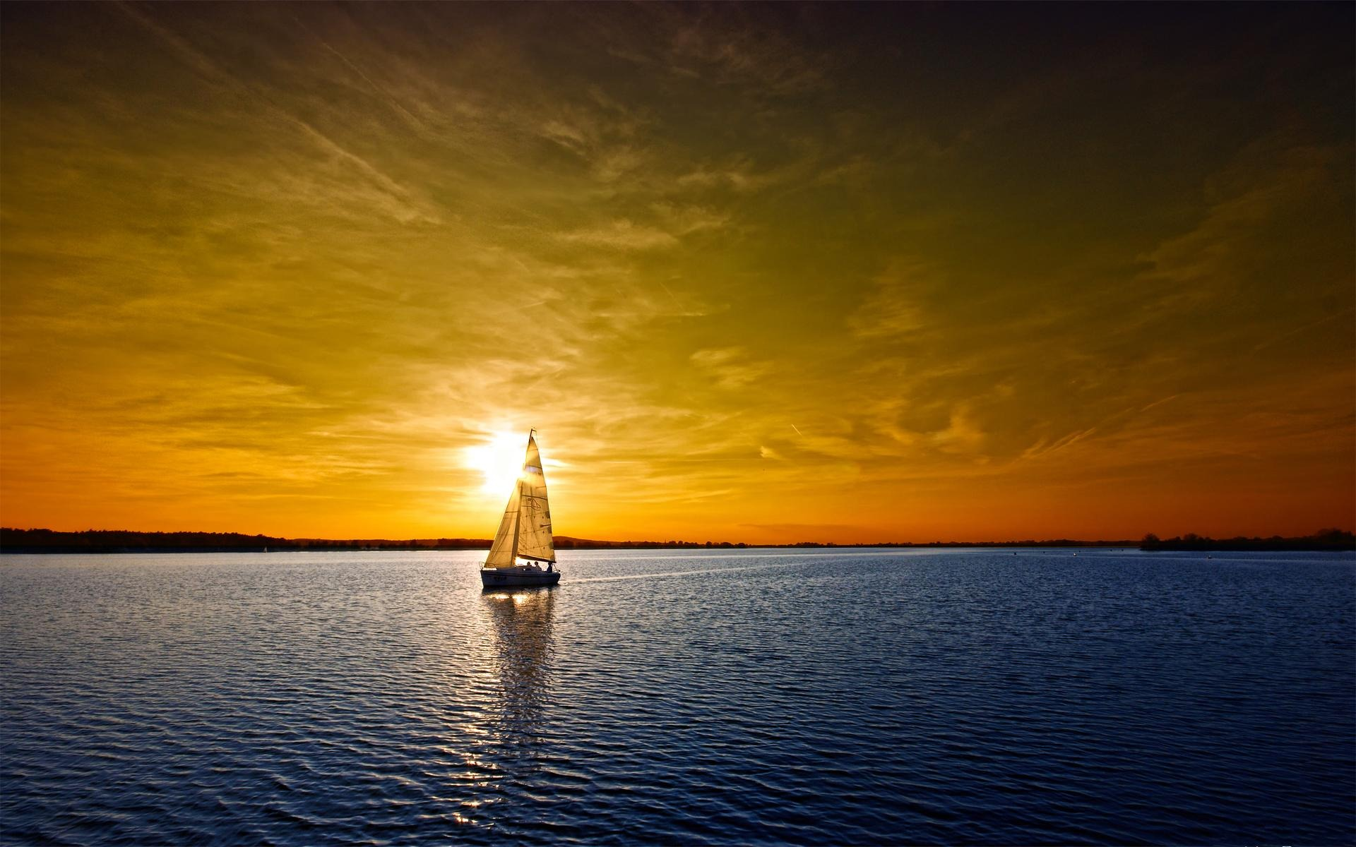 Beach wallpapers Sailboat Sunset Wallpaper