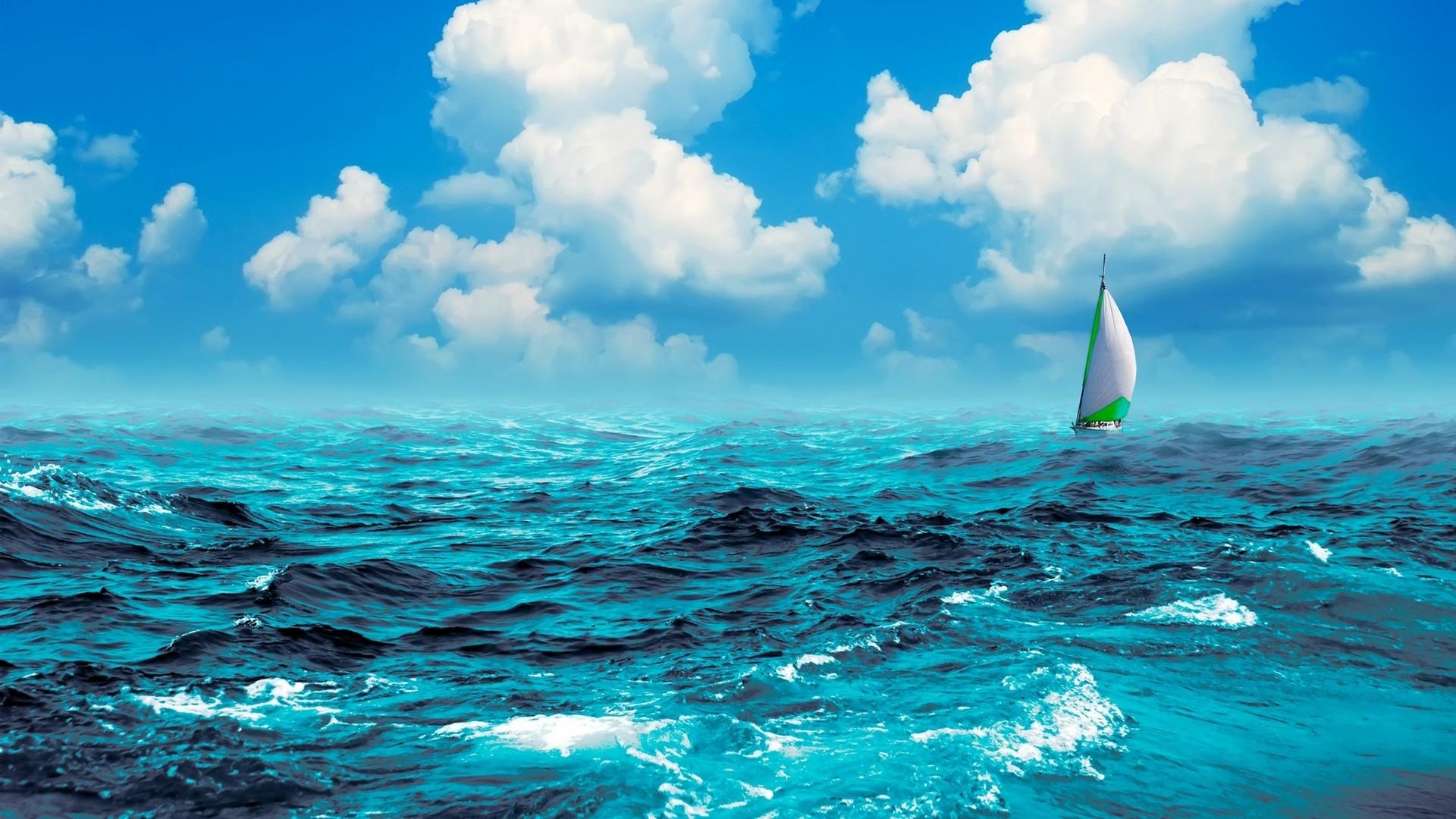 manipulation cg digital art artistic nature ocean sea waves swell water sky clouds sailing sports boat
