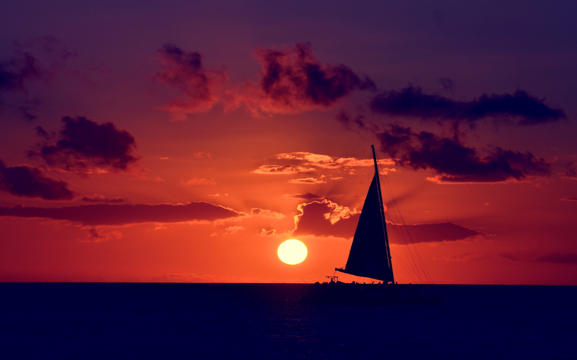 Sailing ocean sunset