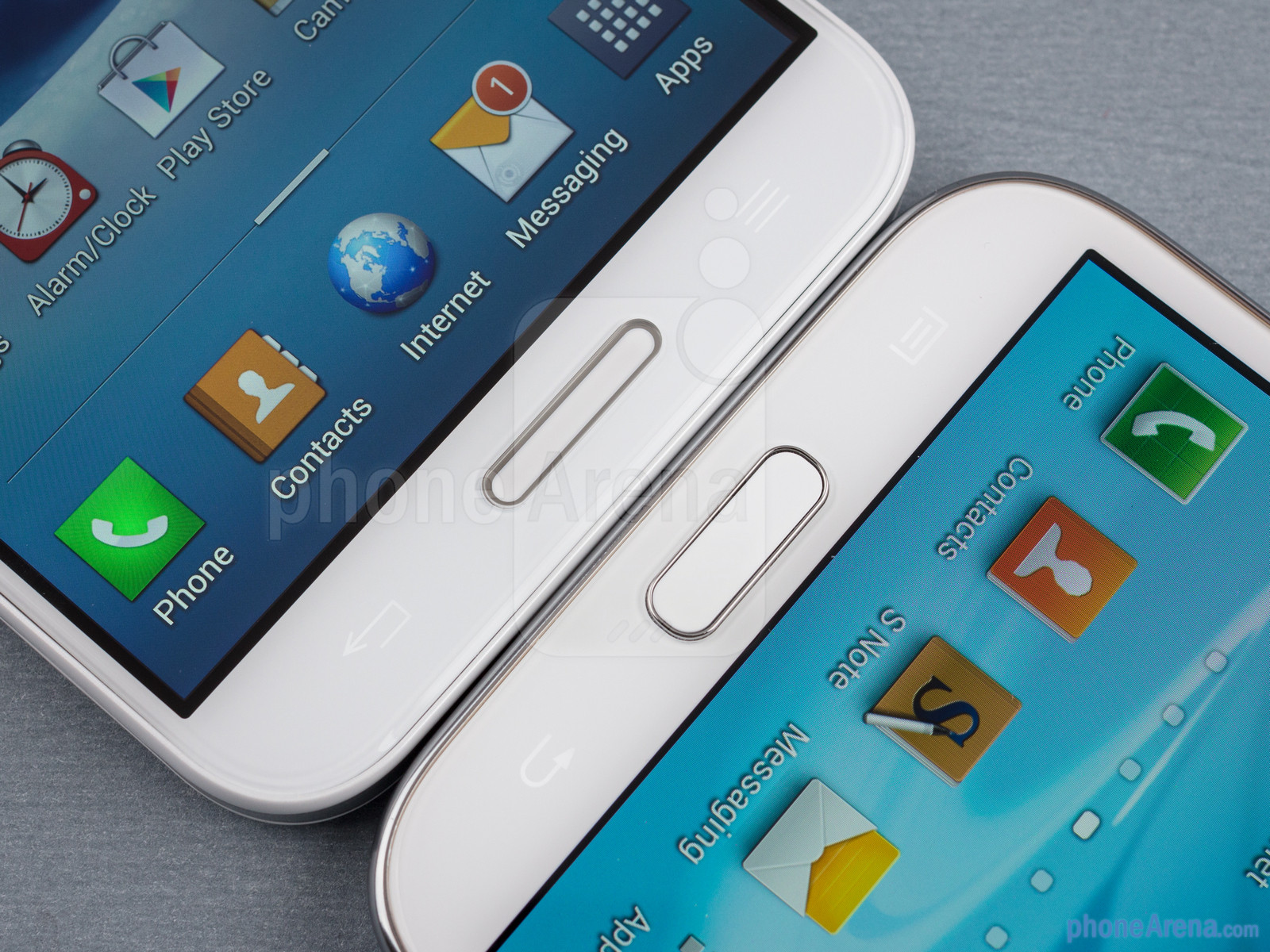 Android buttons - The LG Optimus G Pro (left) and the Samsung Galaxy Note