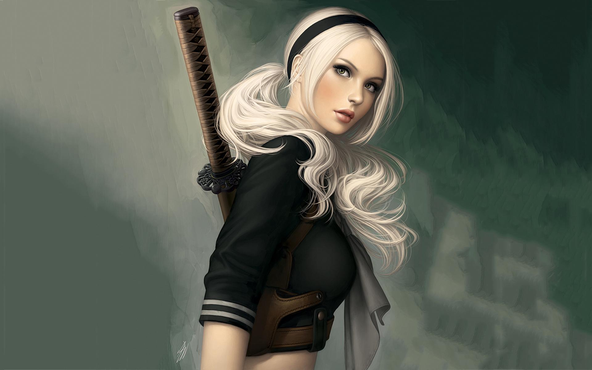 Samurai blonde girl