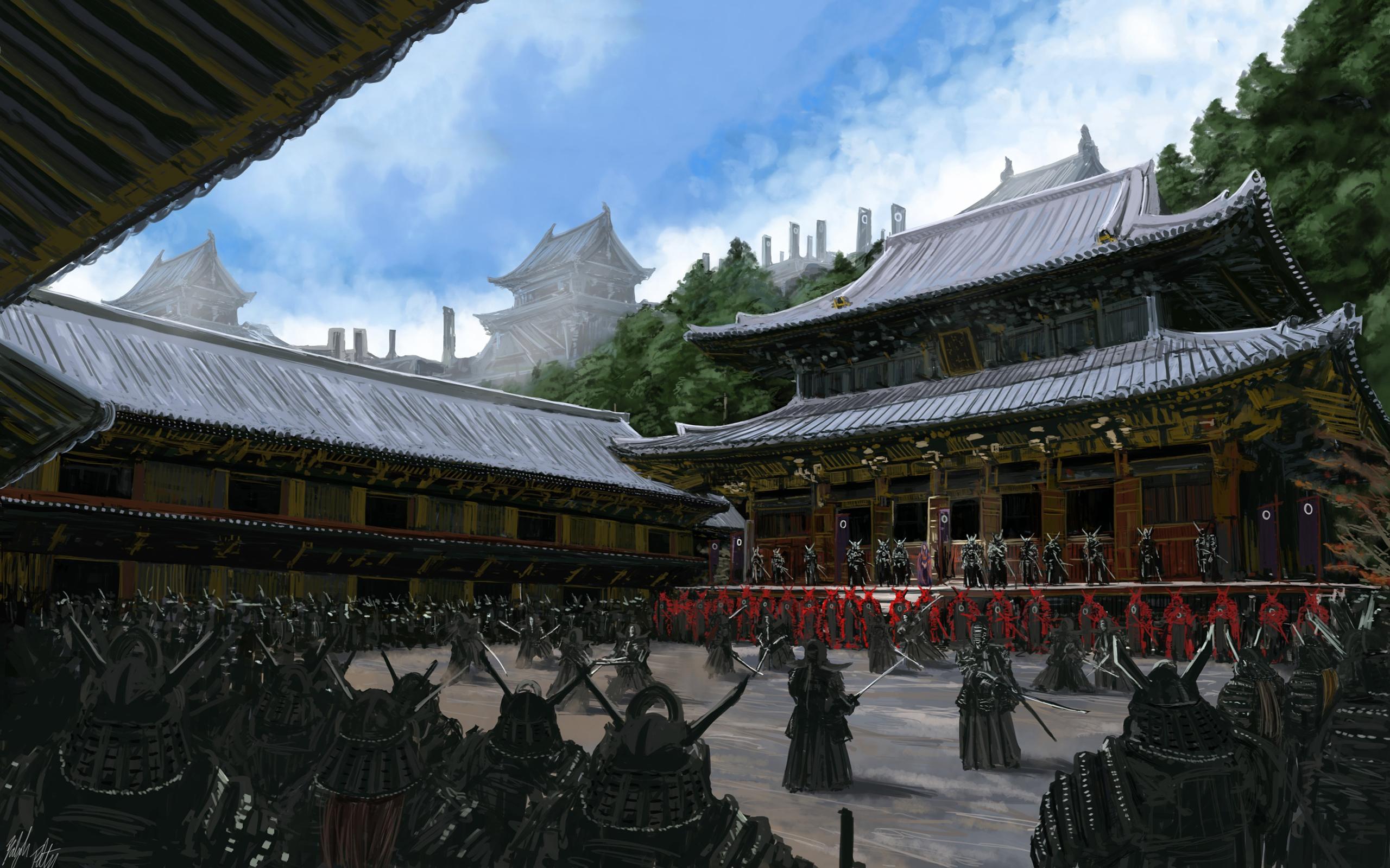 Samurai temple art