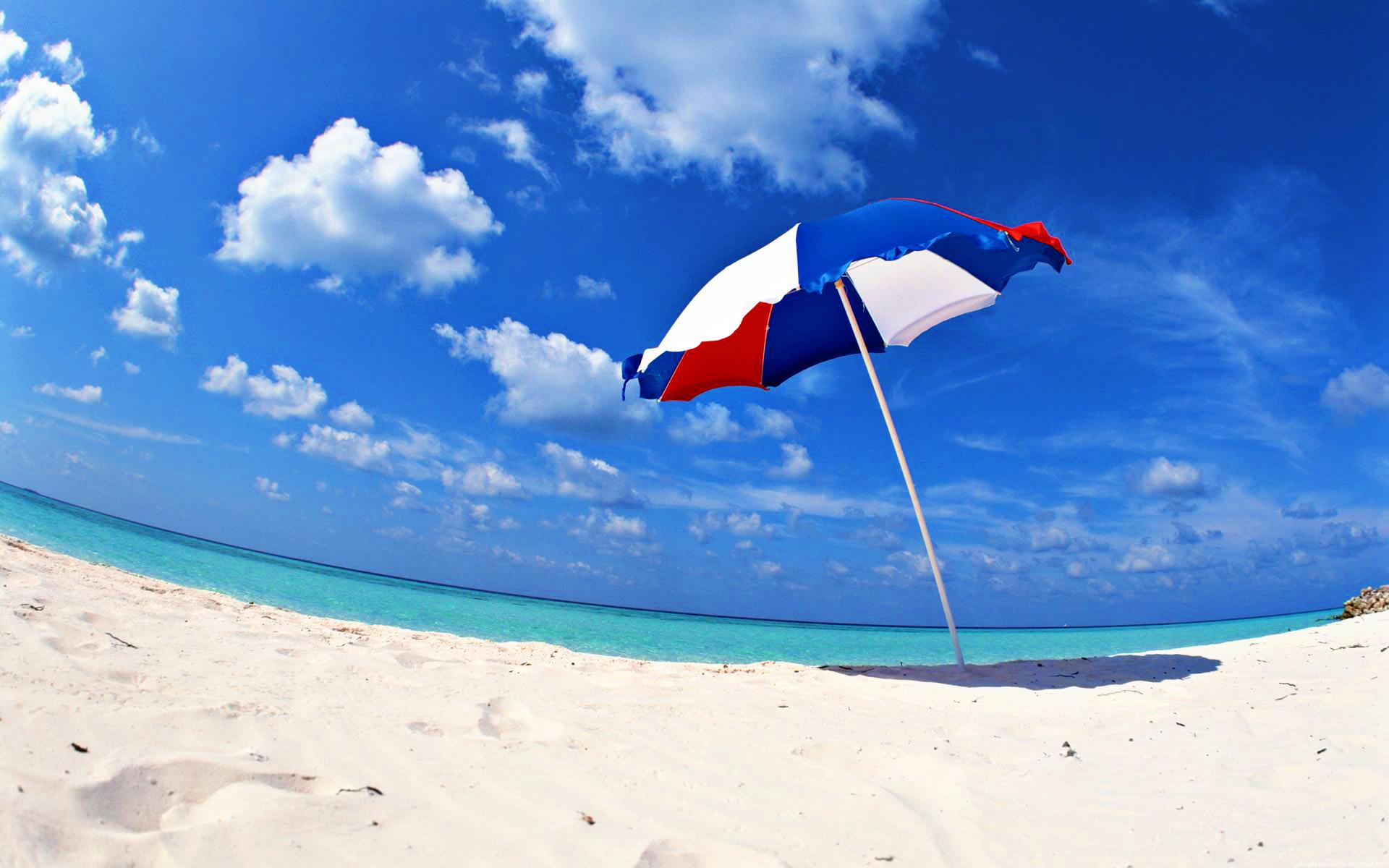 White Sand Beach Umbrella Wallpaper User
