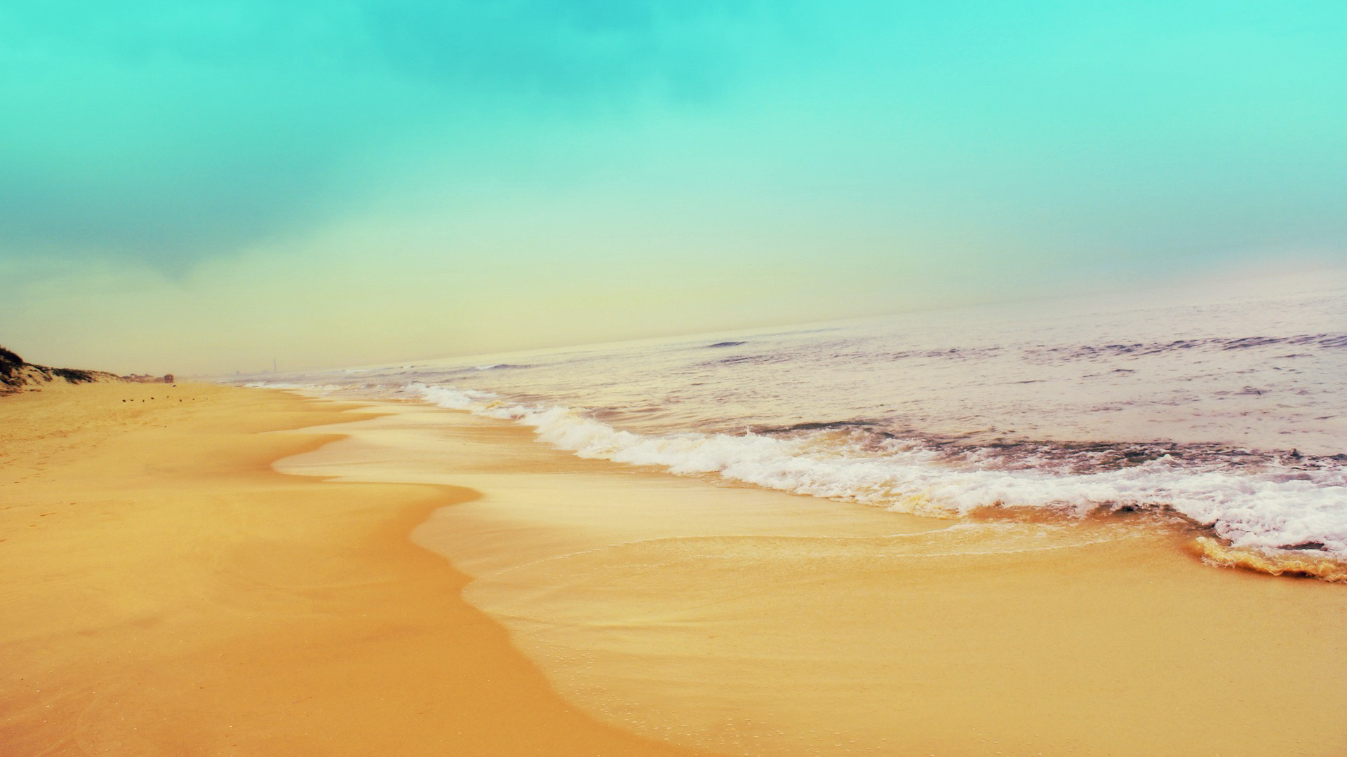 sandy seaside wide hd wallpaper