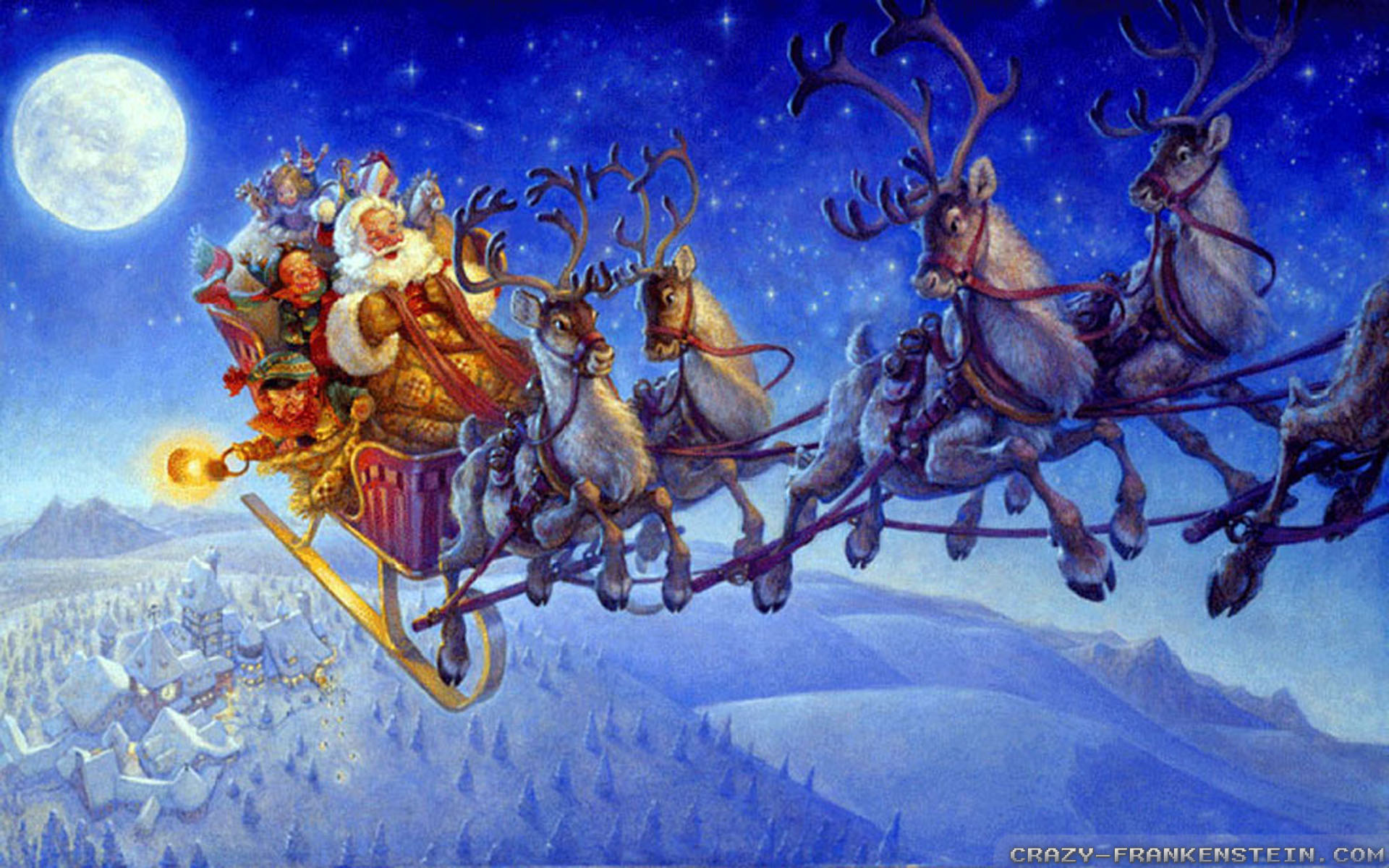 Wallpaper: Santa on Christmas eve wallpapers. Resolution: 1024x768 | 1280x1024 | 1600x1200. Widescreen Res: 1440x900 | 1680x1050 | 1920x1200