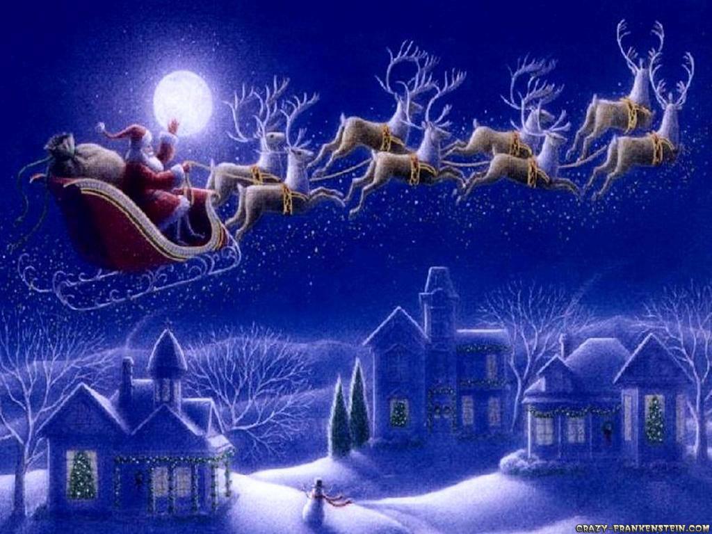 Wallpaper: Santa Claus sleigh
