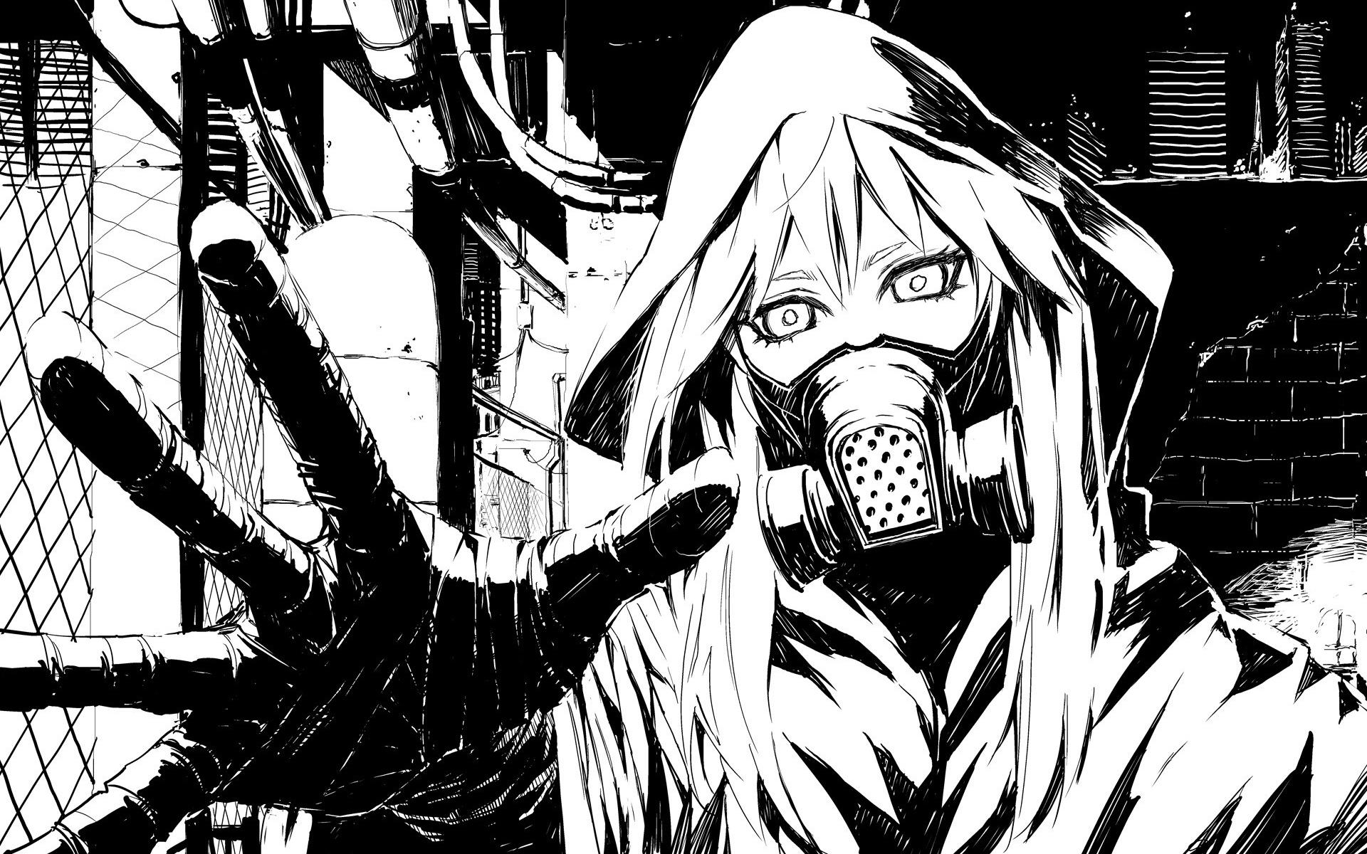 Scared masked girl black white