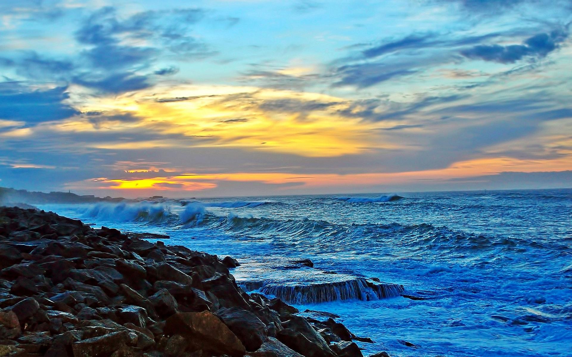 Sea coast shore sunset