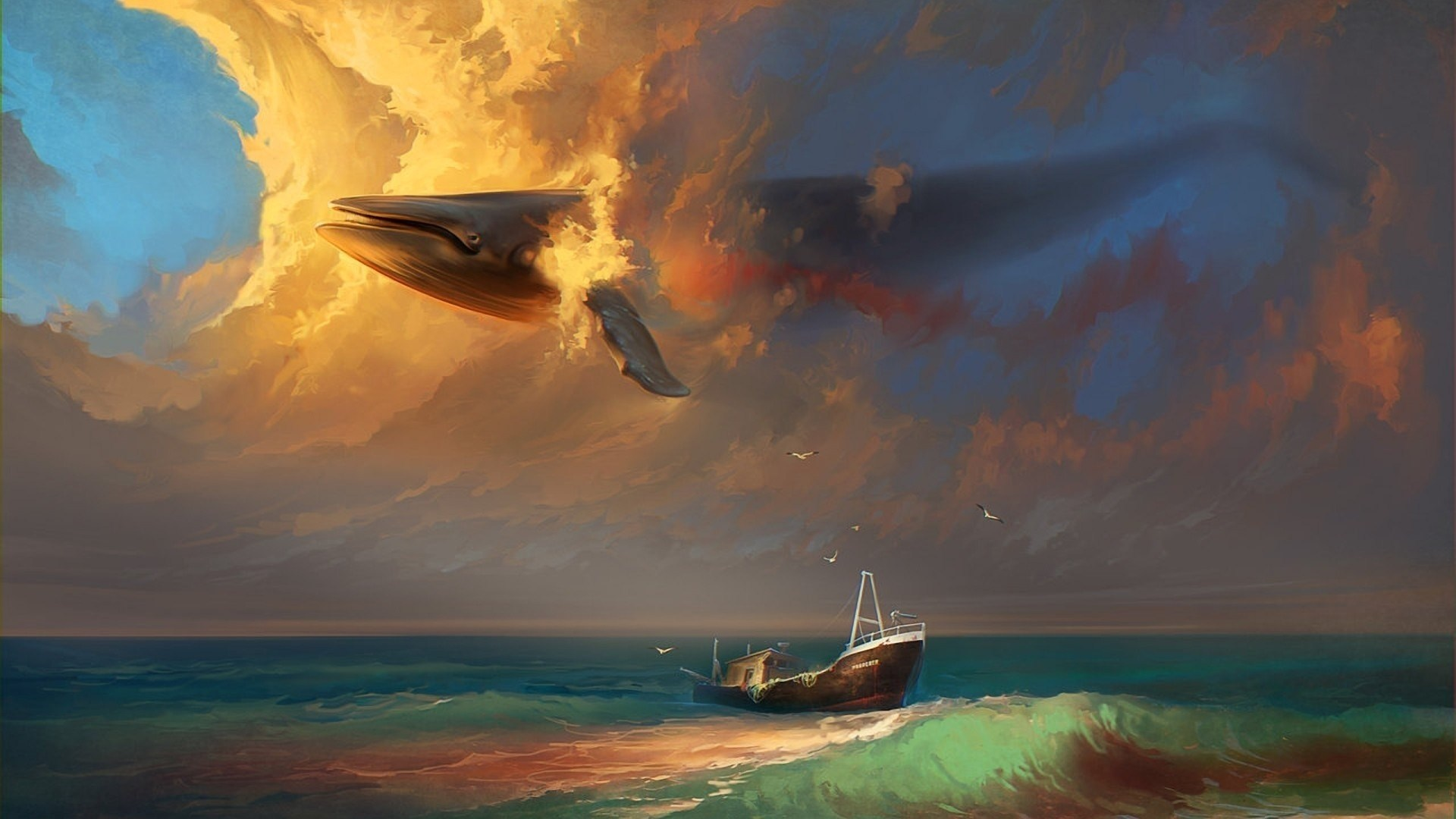 Sea Ship Birds Whale Clouds Painting