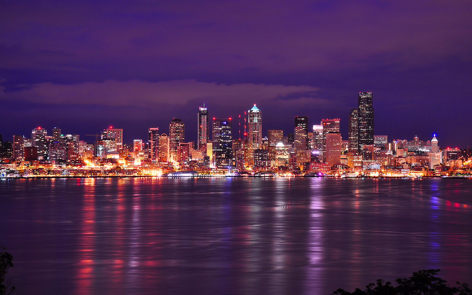 Seattle night skyline 1