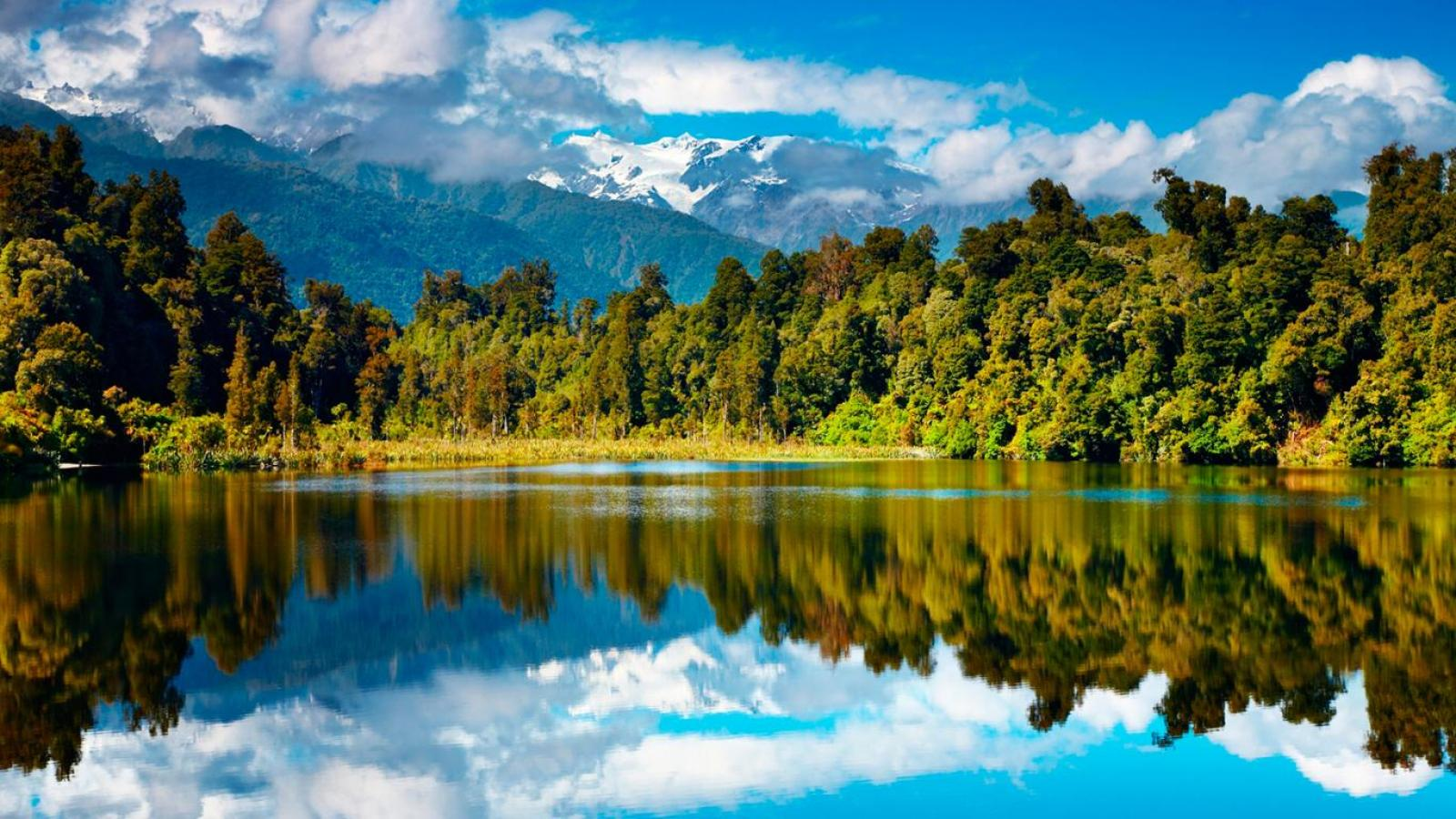 Wallpaper Tags: trees reflection mountains river serene clouds