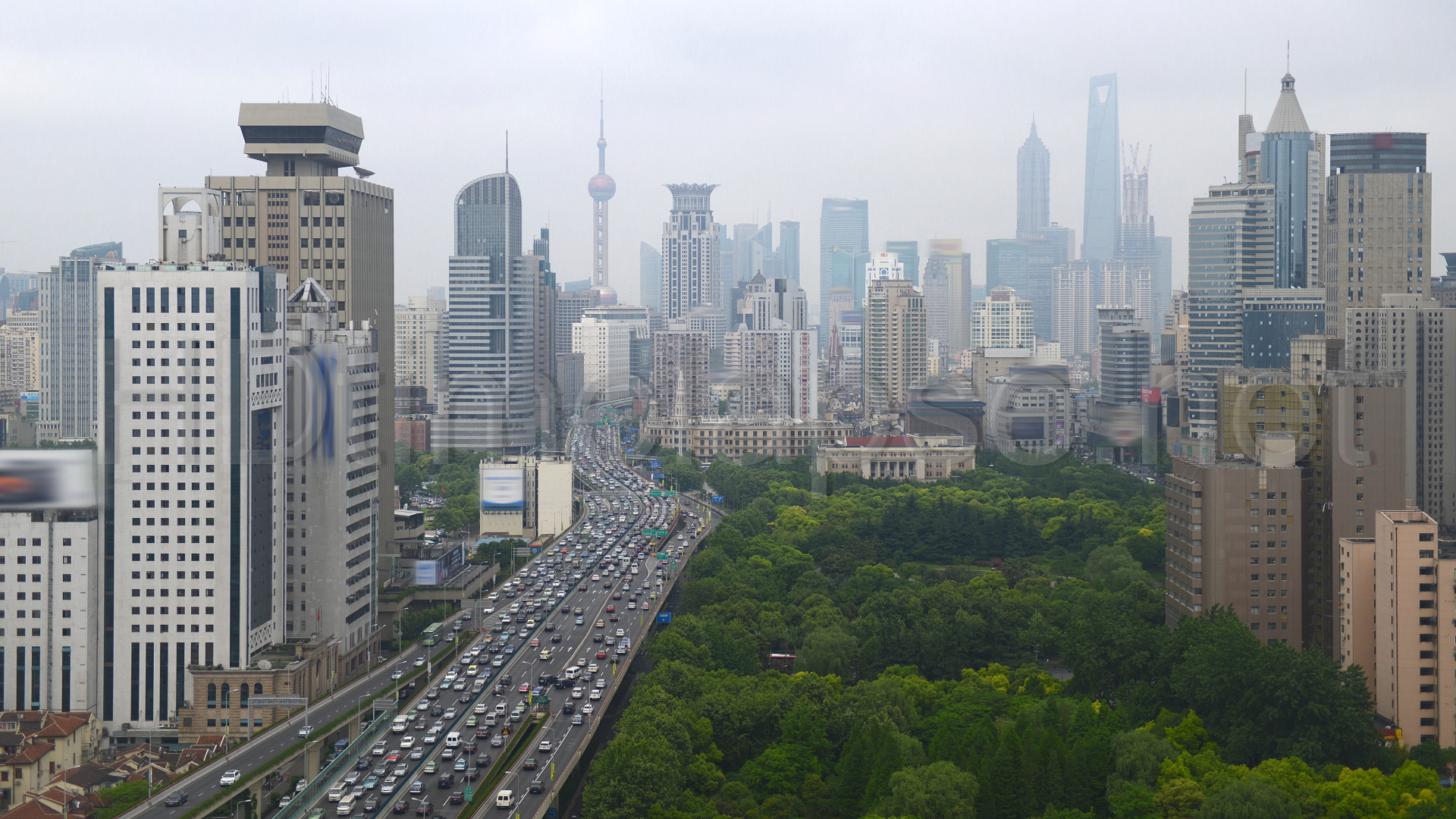 City 5186. Aerial View of Expressway of Shanghai, Oriental Pearl Tower, Jin Mao Tower, Blurred Logos Shanghai - China 00:00:12