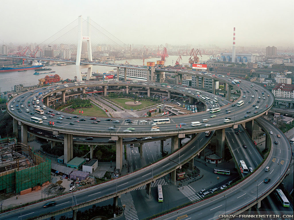 Wallpaper: Nanpu bridge interchange in Shanghai China city