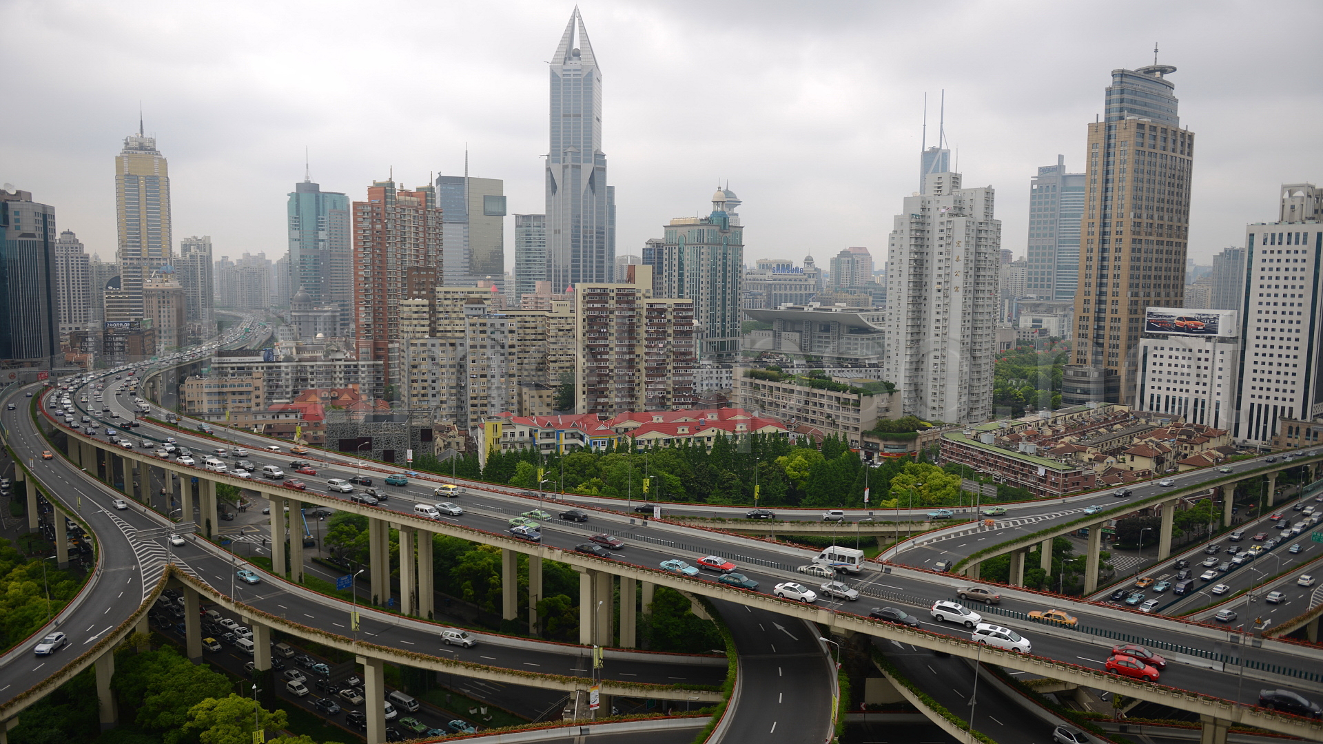 City 5183. Aerial View of JW Marriott Hotel Shanghai, Nan Zheng Building, Yan an East Road Overpass Shanghai - China 00:00:30