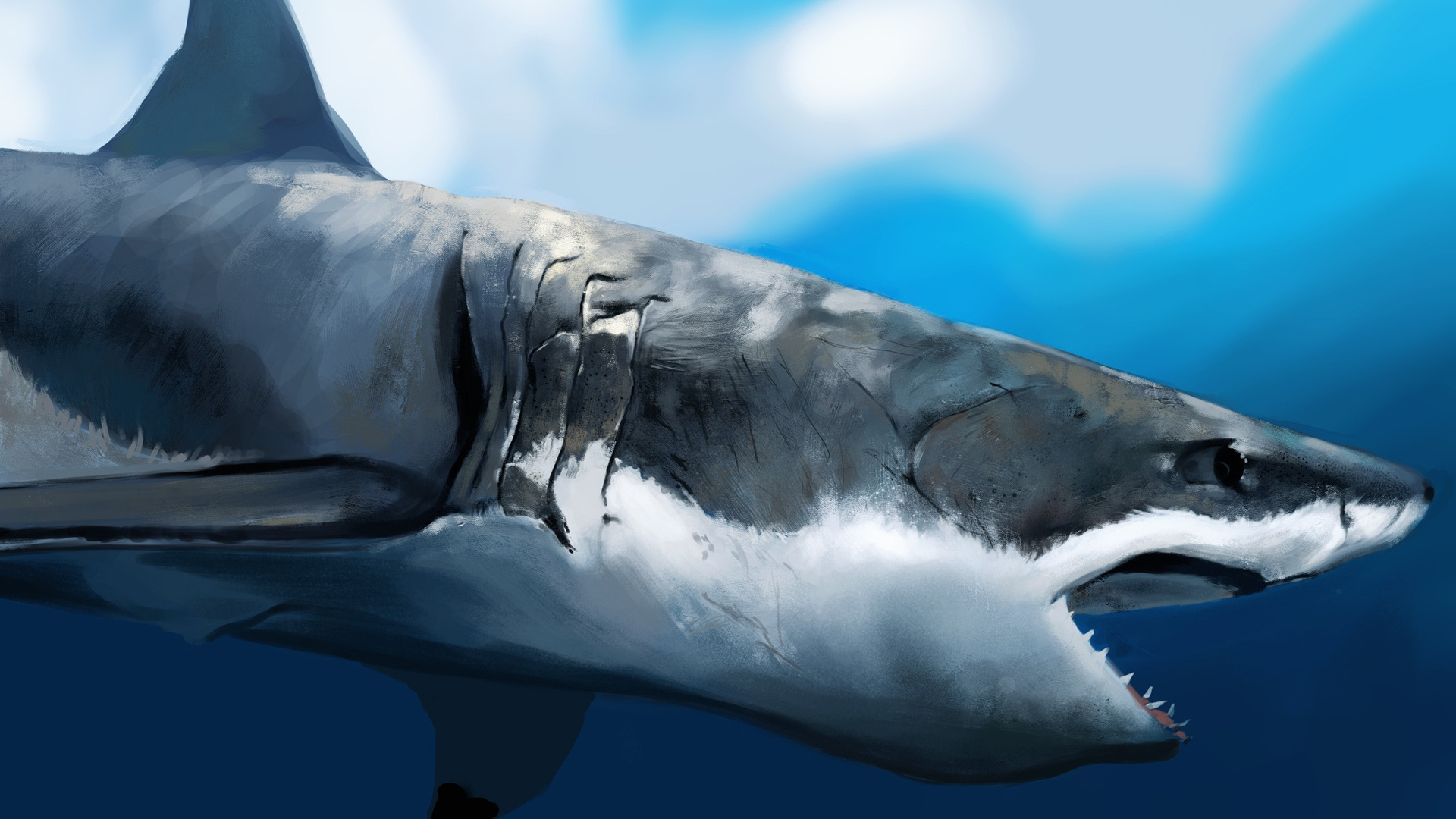 3840x2160 Wallpaper maw, shark, art, under the water, hunger, profile