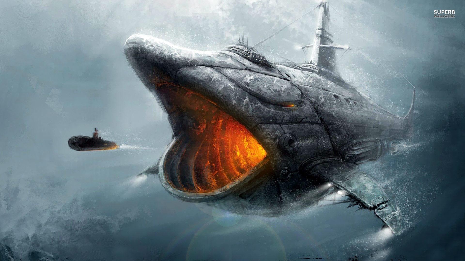 Shark submarine wallpaper 1920x1080 jpg