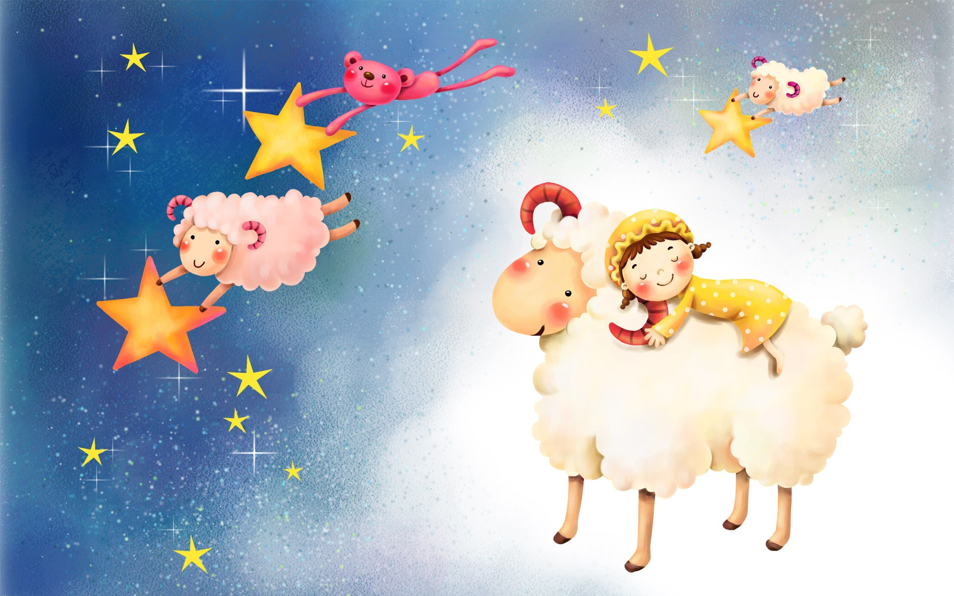 Sheeps Stars Child Sleep Night Art