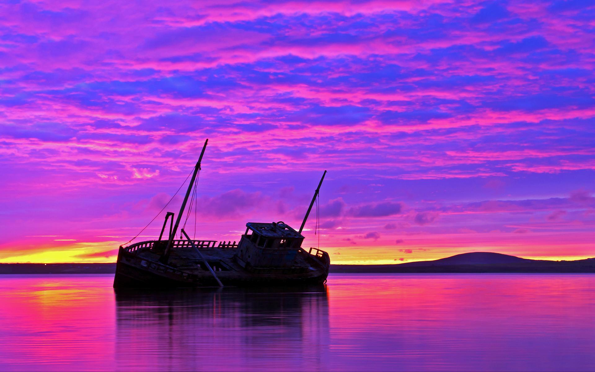 Shipwreck purple sunset