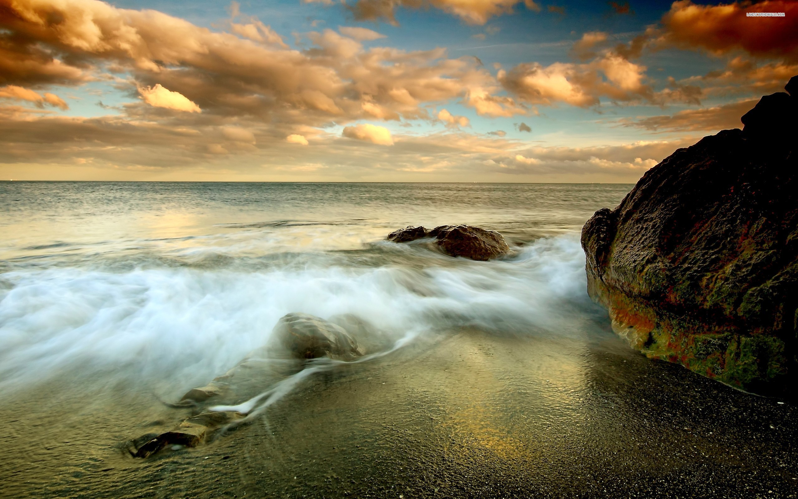 Cloudy Rocky Shore Wallpaper