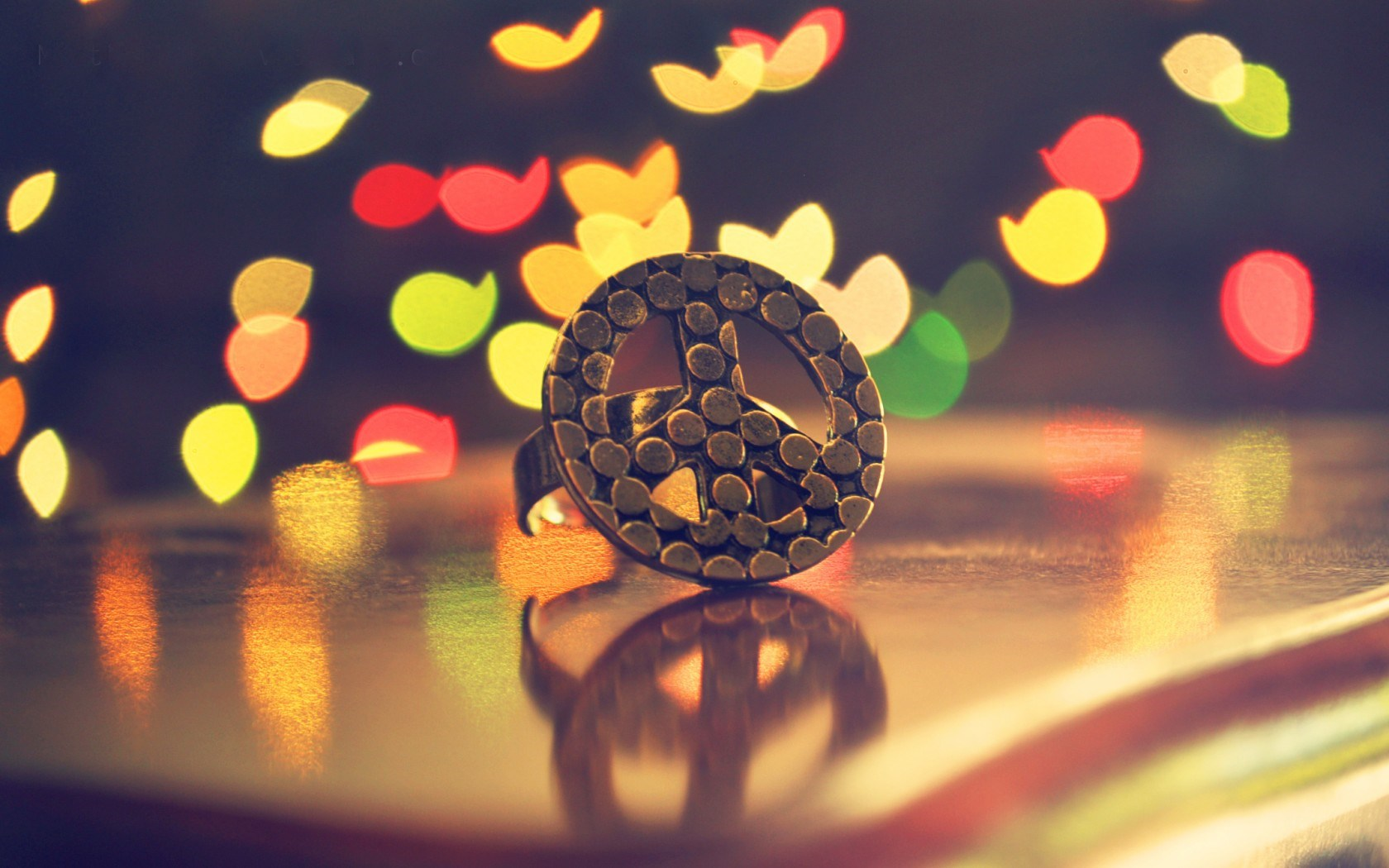 Ring Peace Sign Bokeh Colorful Lights HD Wallpaper
