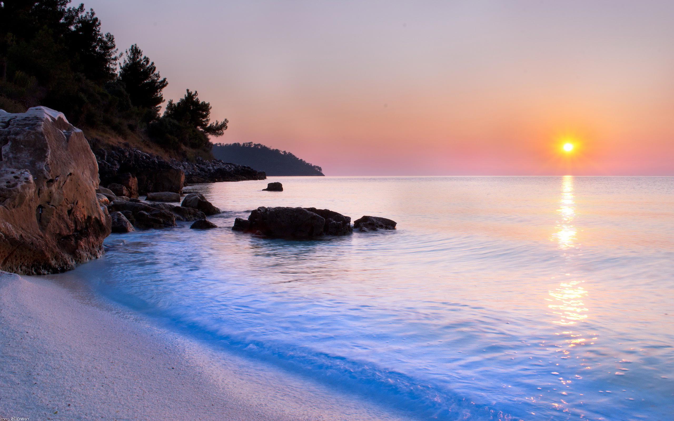 Silent beach evening sunset