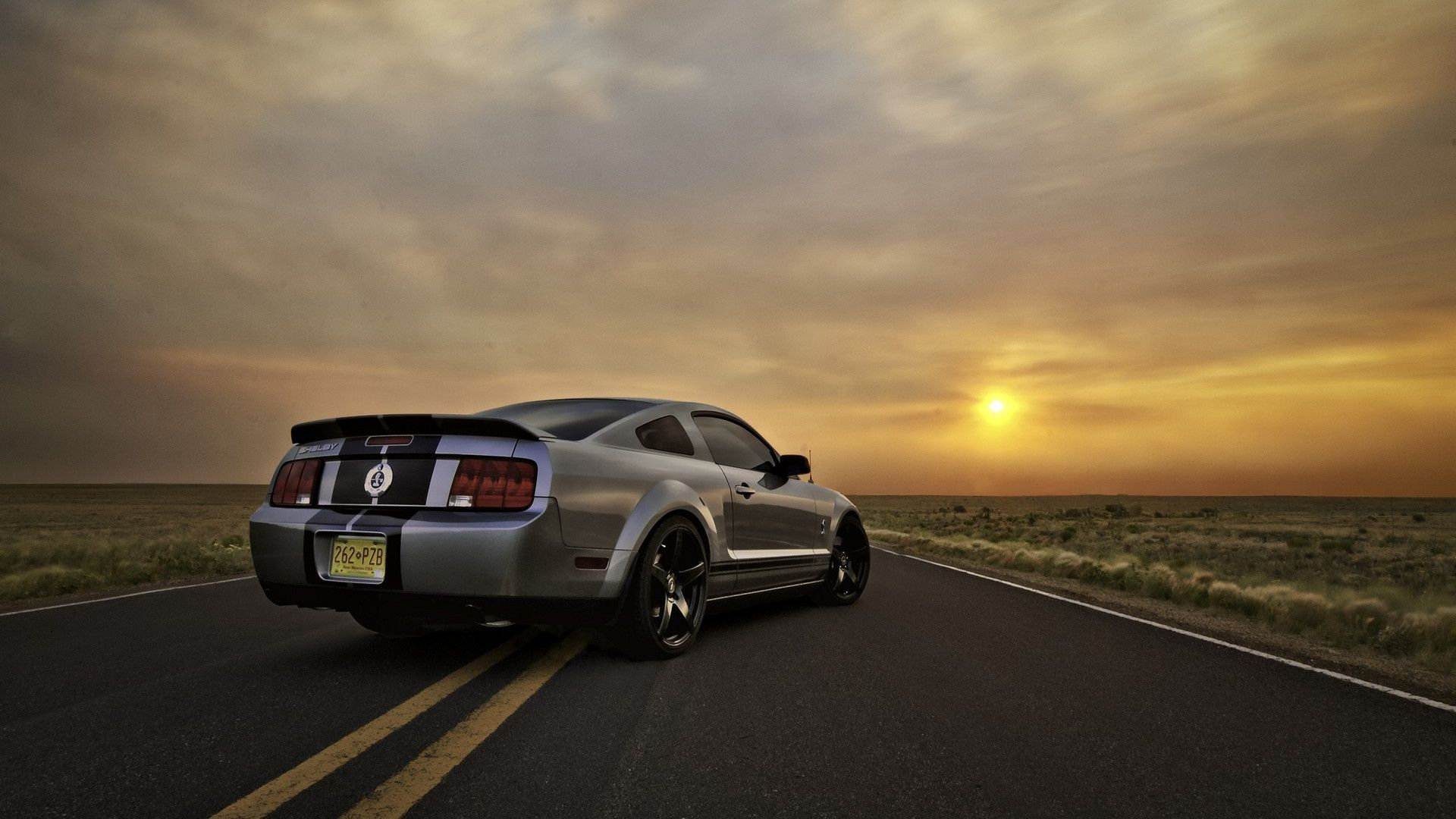 Silver ford mustang sunset Wallpaper