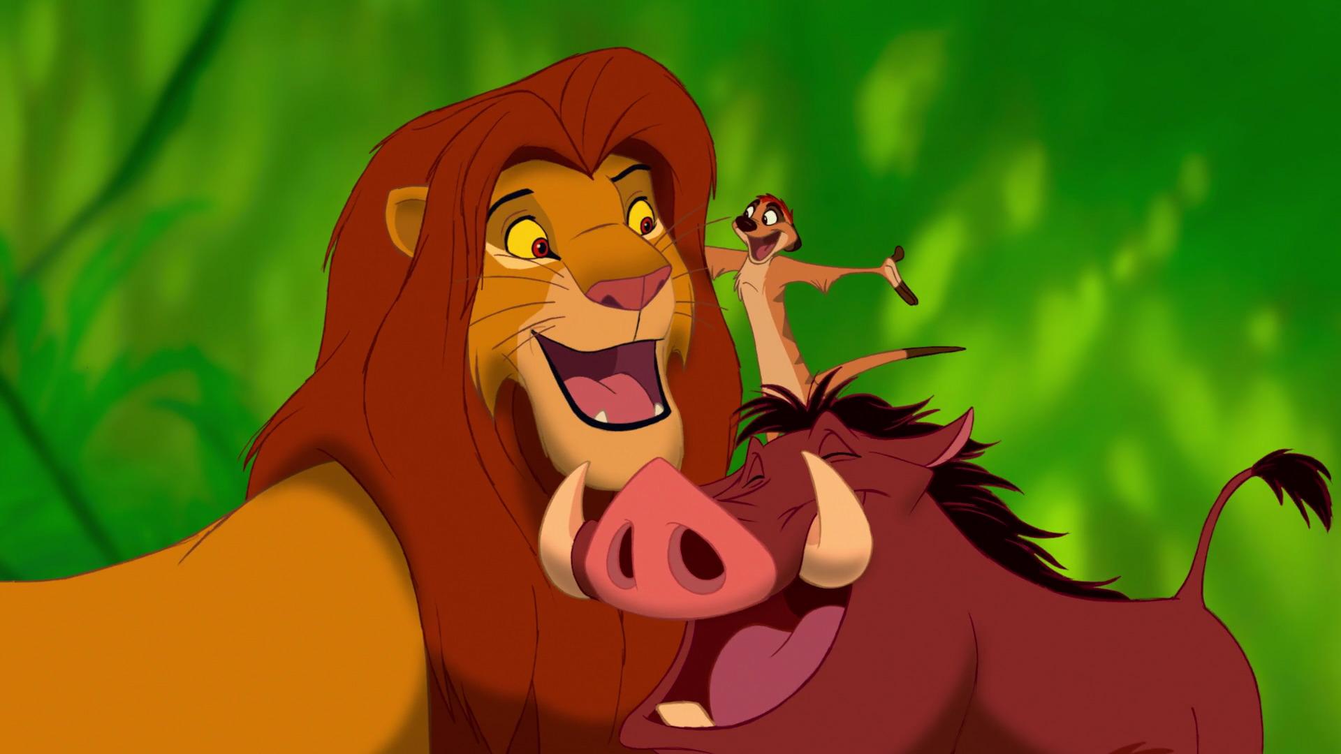 Simba with Timon and Pumbaa.