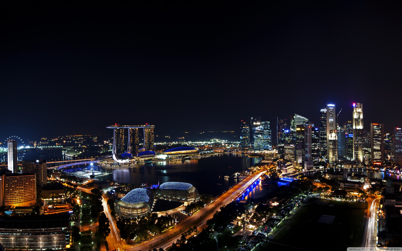 Singapore Night 2880x1800 Skyline Wallpaper