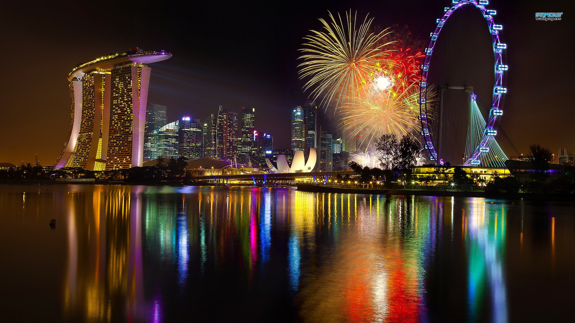 Download now full hd wallpaper singapore firework ocean marina bay ...