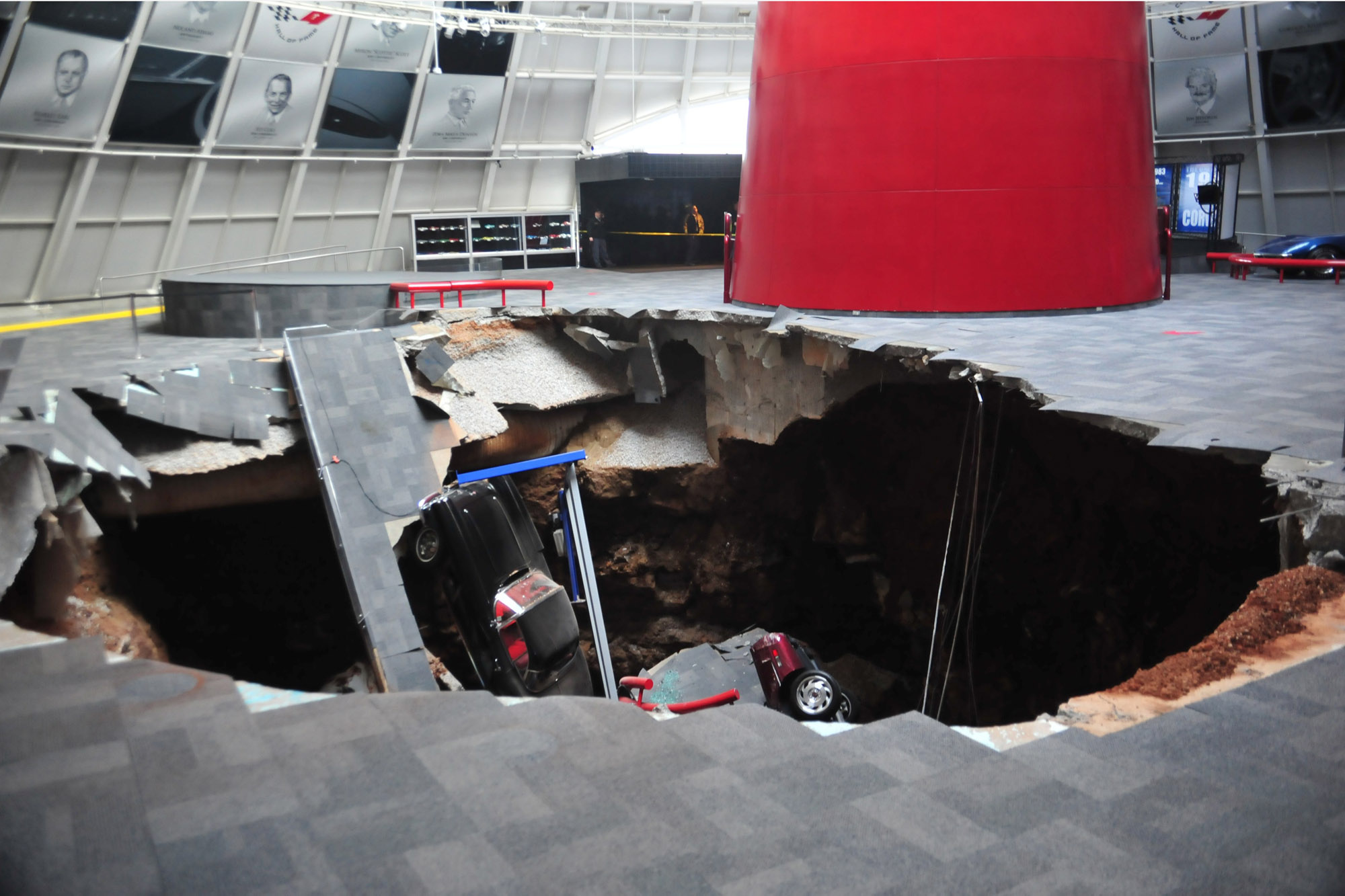 This sinkhole opened up in the middle of the National Corvette Museum, damaging eight cars. Photo: Reuters