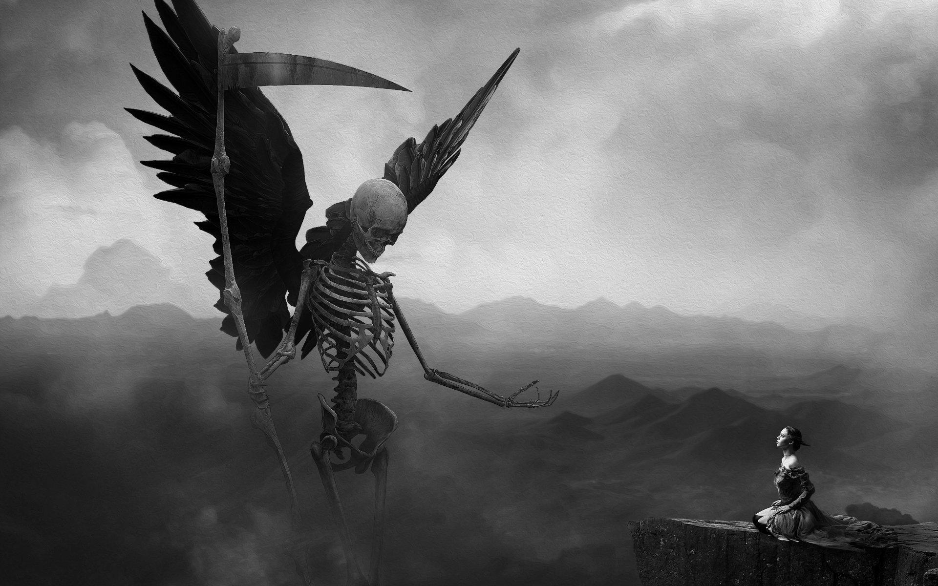 Skeleton death girl on knees
