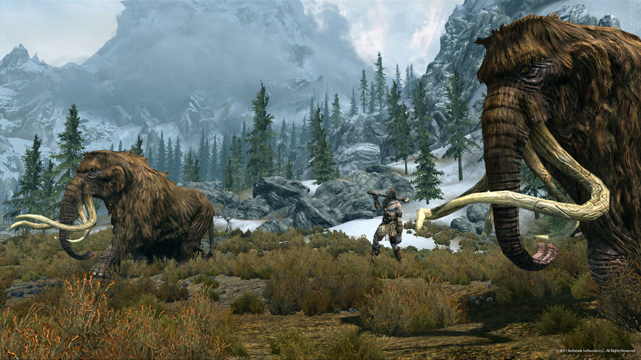 Mammoths roam Skyrim under protection of their Giant masters