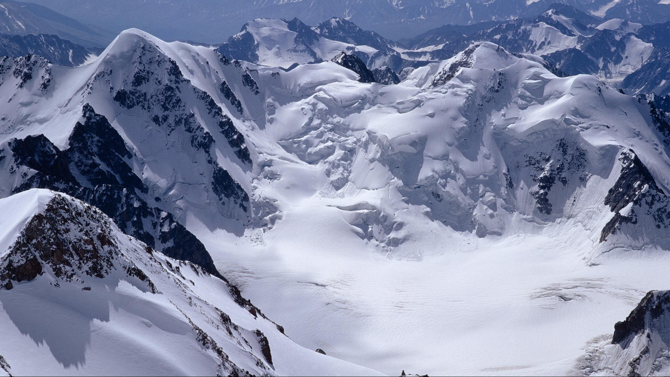 Snow landscape alpine climbers