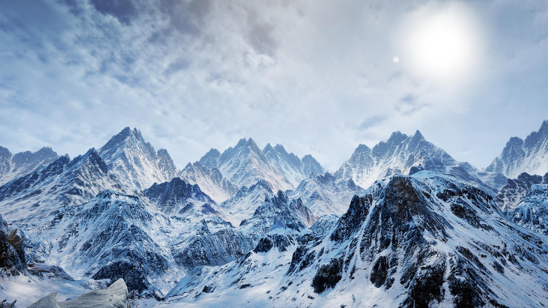 Ice and Snow Mountains Background
