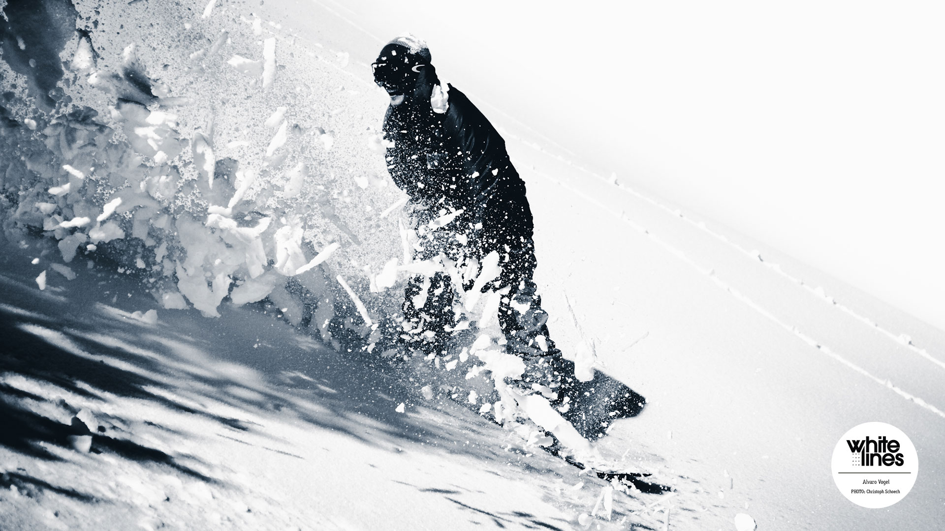Snowboard Wallpaper - Alvaro Vogel cuts through the crust