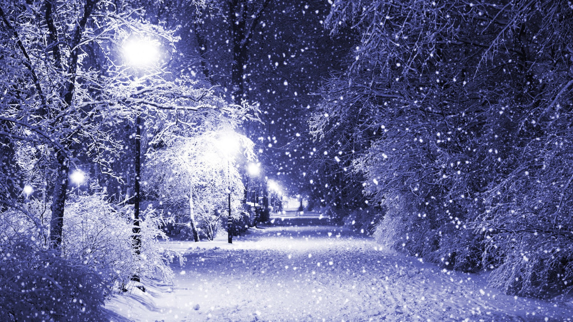 Appealing Laptop Wallpaper: Exciting Snowfall On The Street Wallpaper 1920x1080px