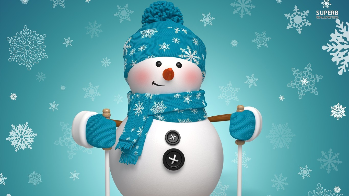 Cute snowman wallpaper 1366x768