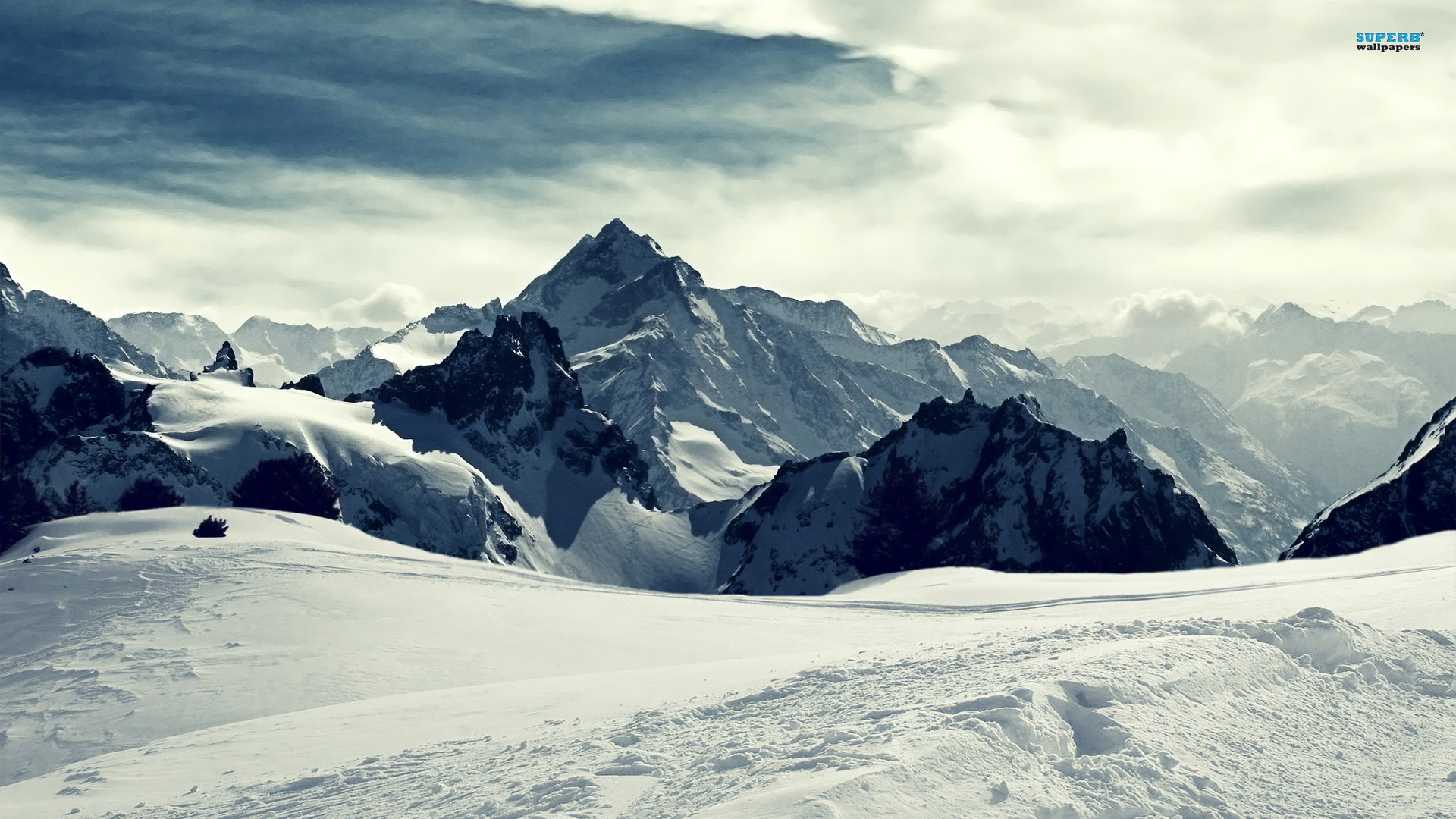 Snowy mountains wallpaper 1920x1080